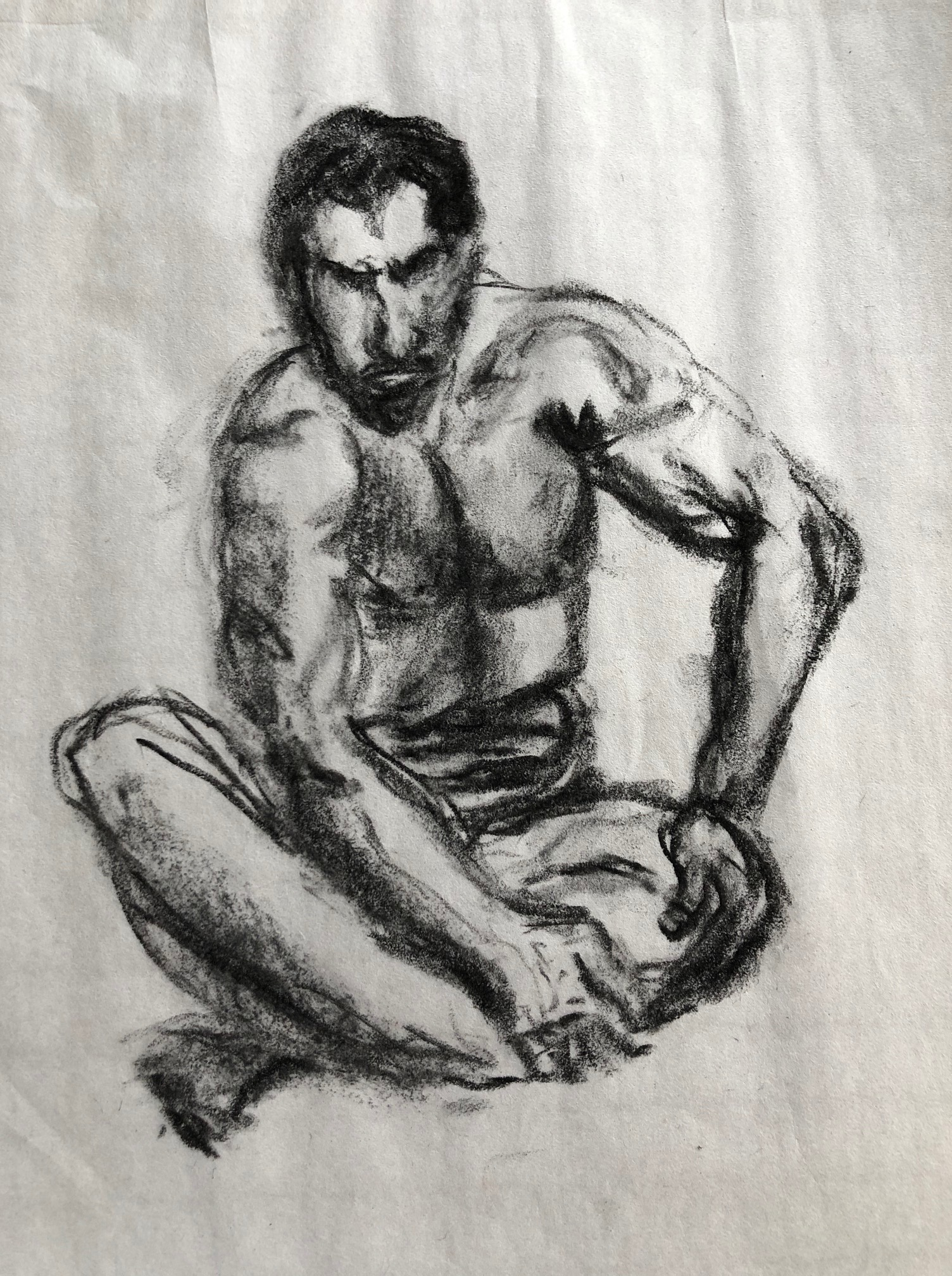 Homme assis fusain sur papier  cours de dessin