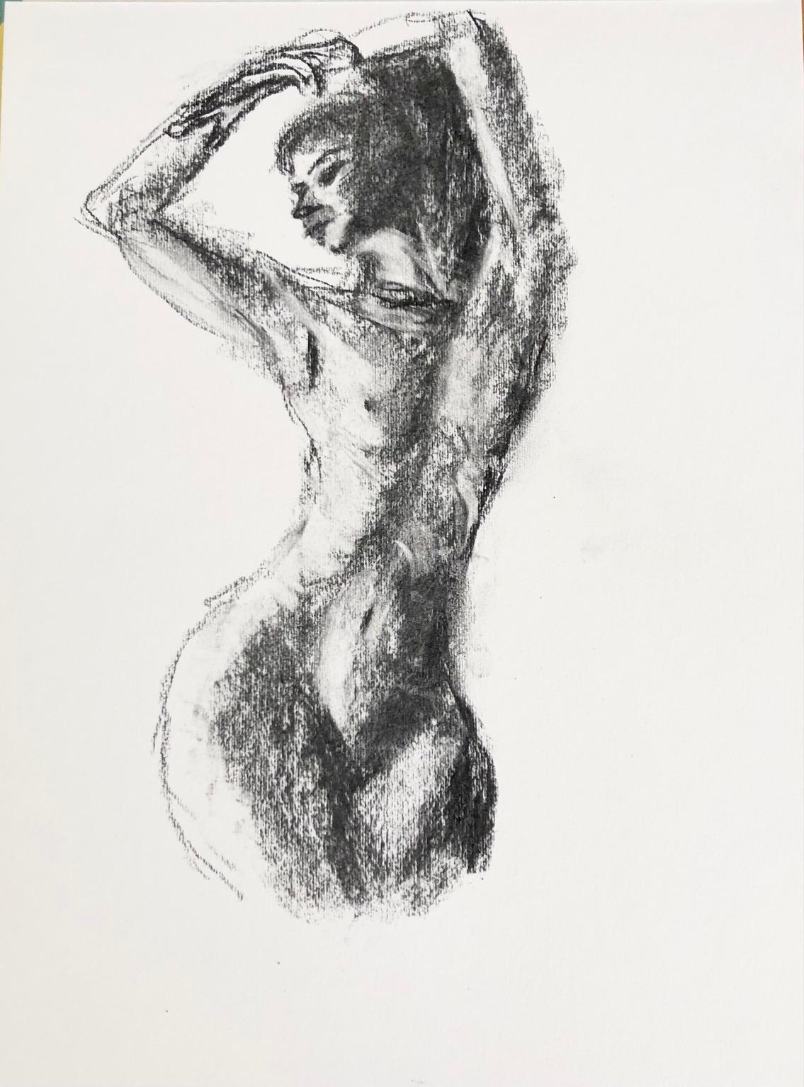 Dessin au fusain niveau de grilles femme trois quarts face  cours de dessin