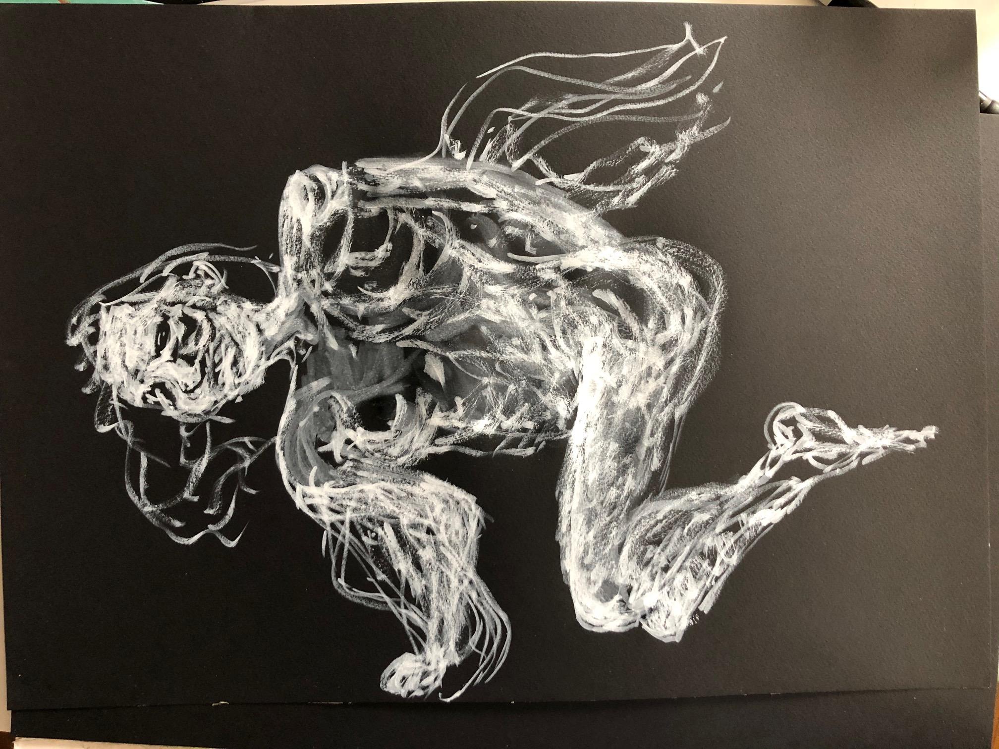 Dessin feutre blanc sur papier noir  cours de dessin