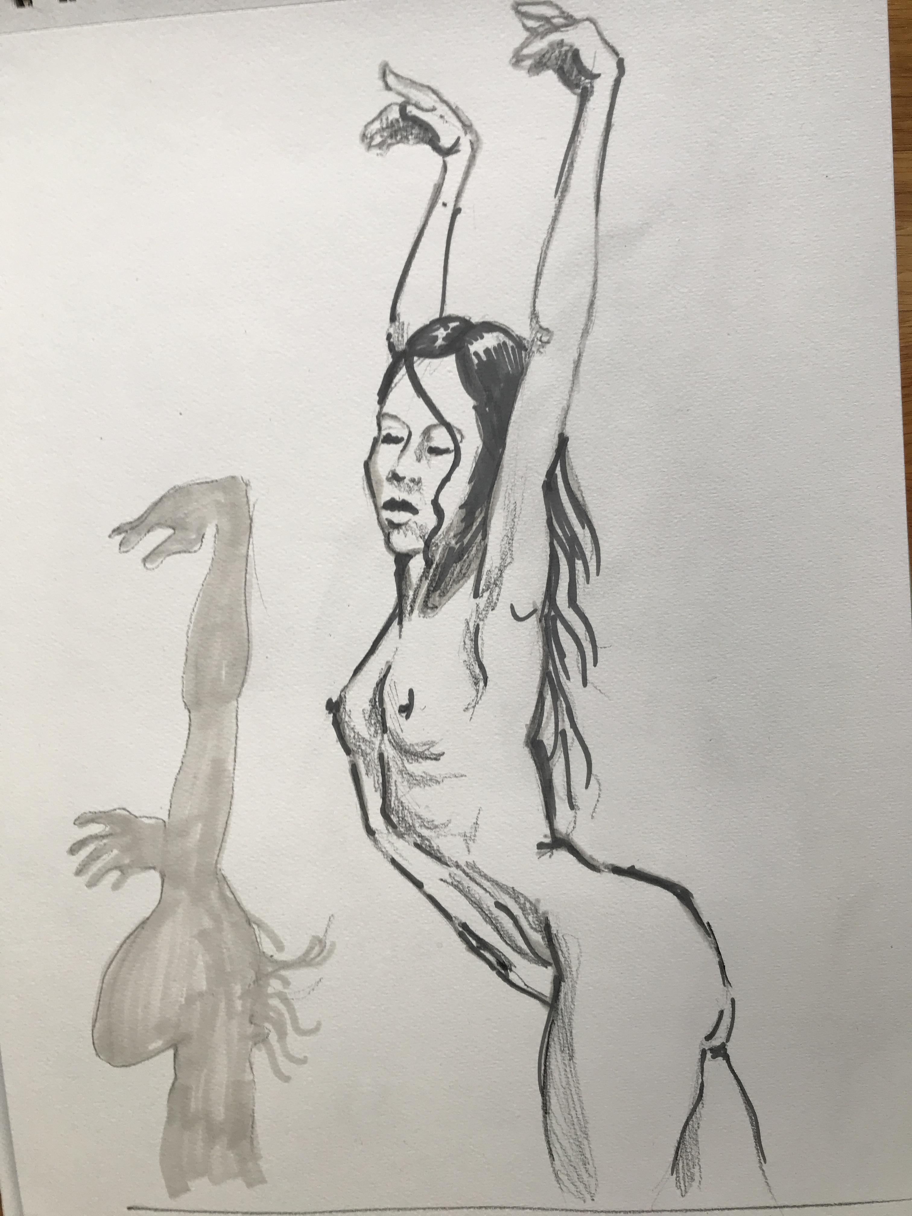 Dessin mod�le vivant femme profil nombre feutre  cours de dessin