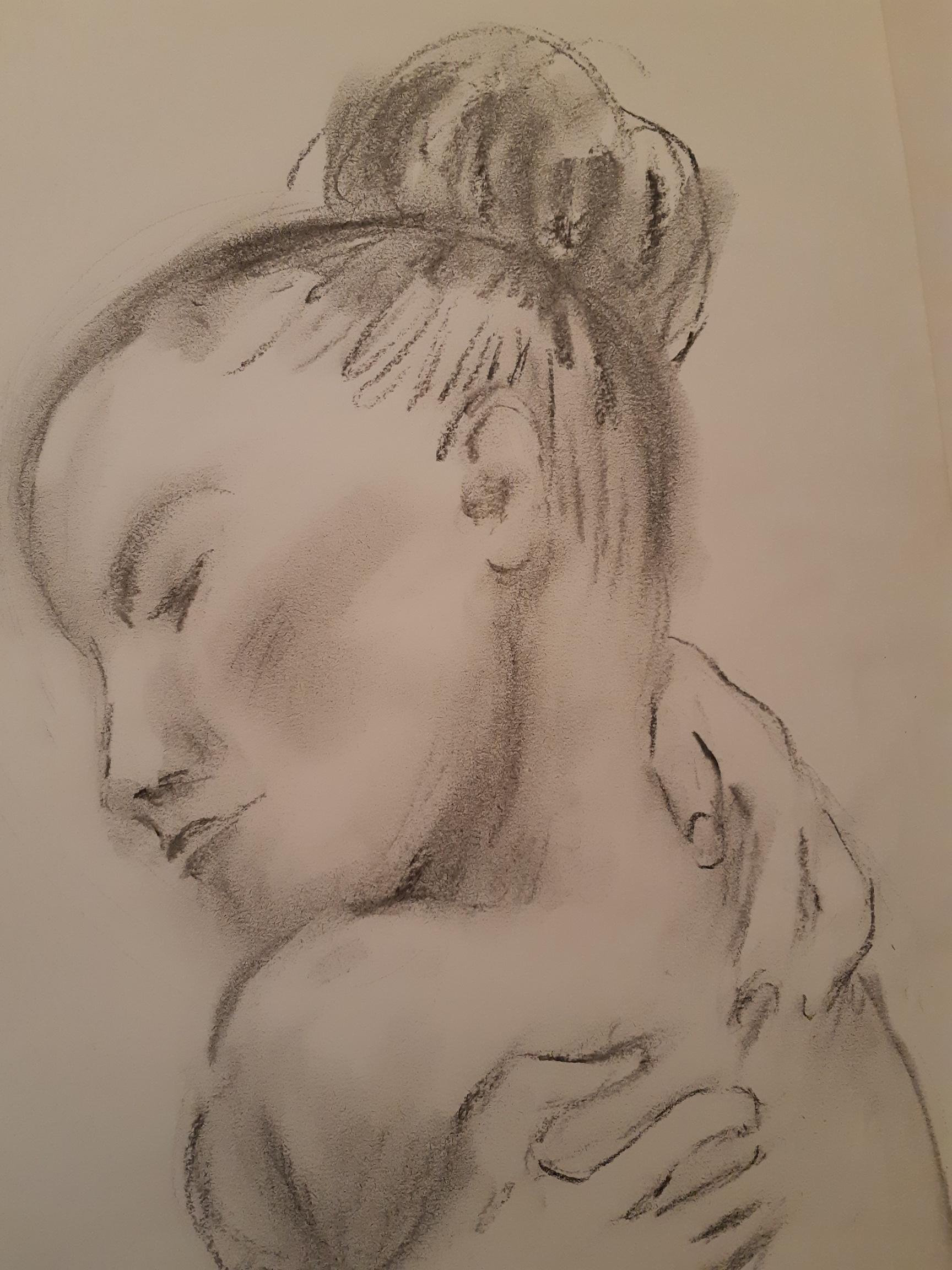 Portrait fusain femme sur papier  cours de dessin