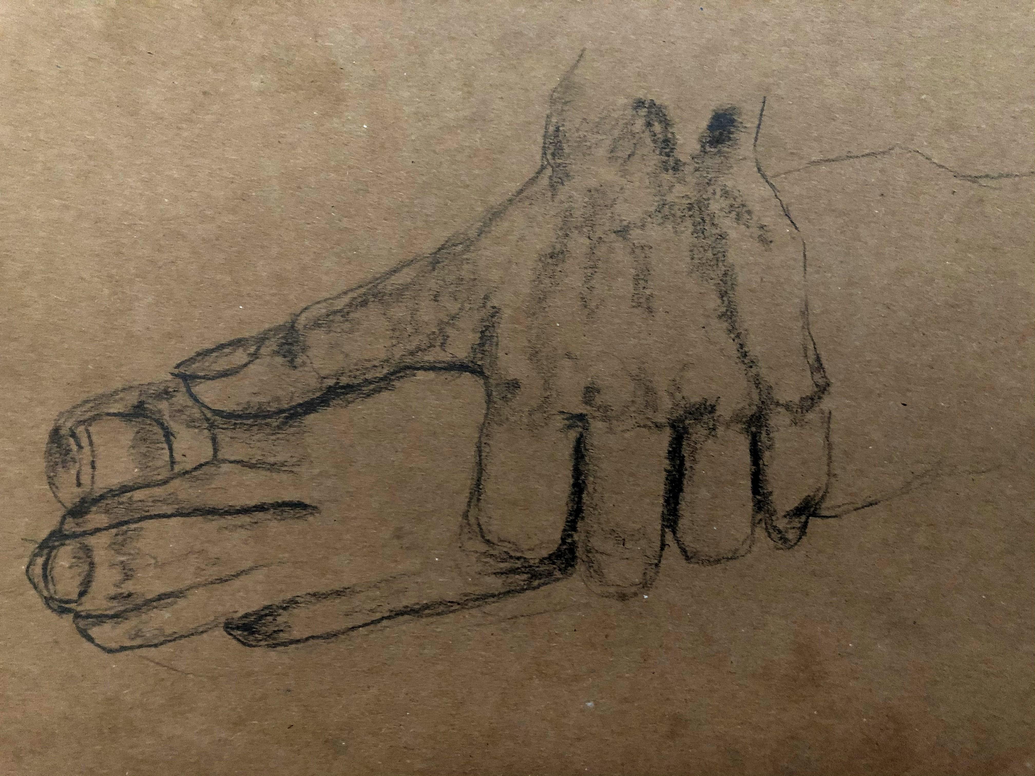 Étude un pied sur papier recyclé pierre noir  cours de dessin