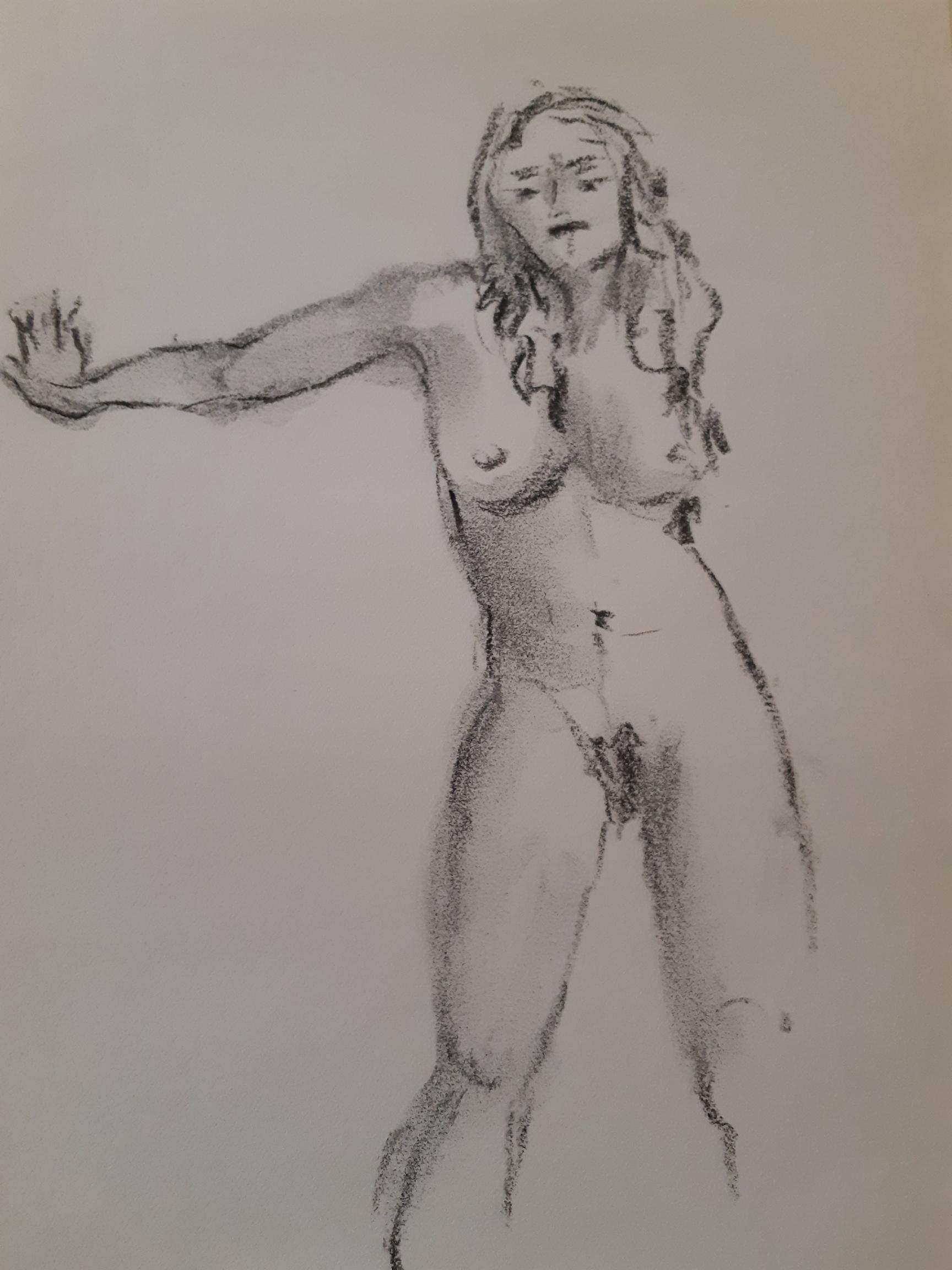 Ébauche fusain femme fasse sur papier  cours de dessin