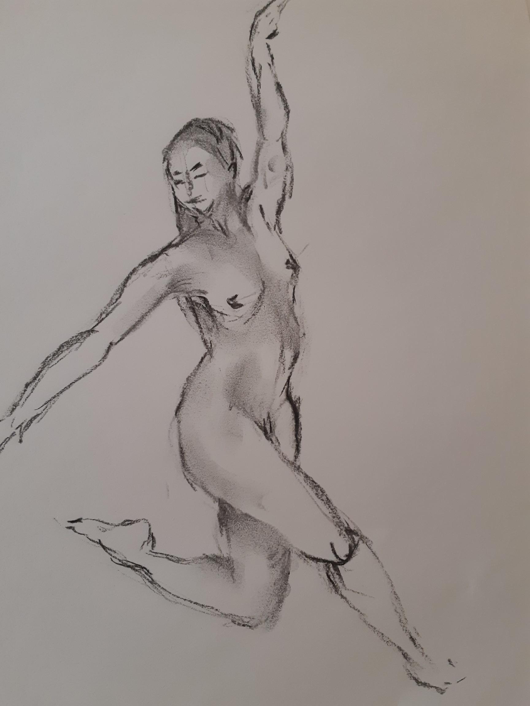 Danseuse femme trois quarts face fusain sur papier  cours de dessin