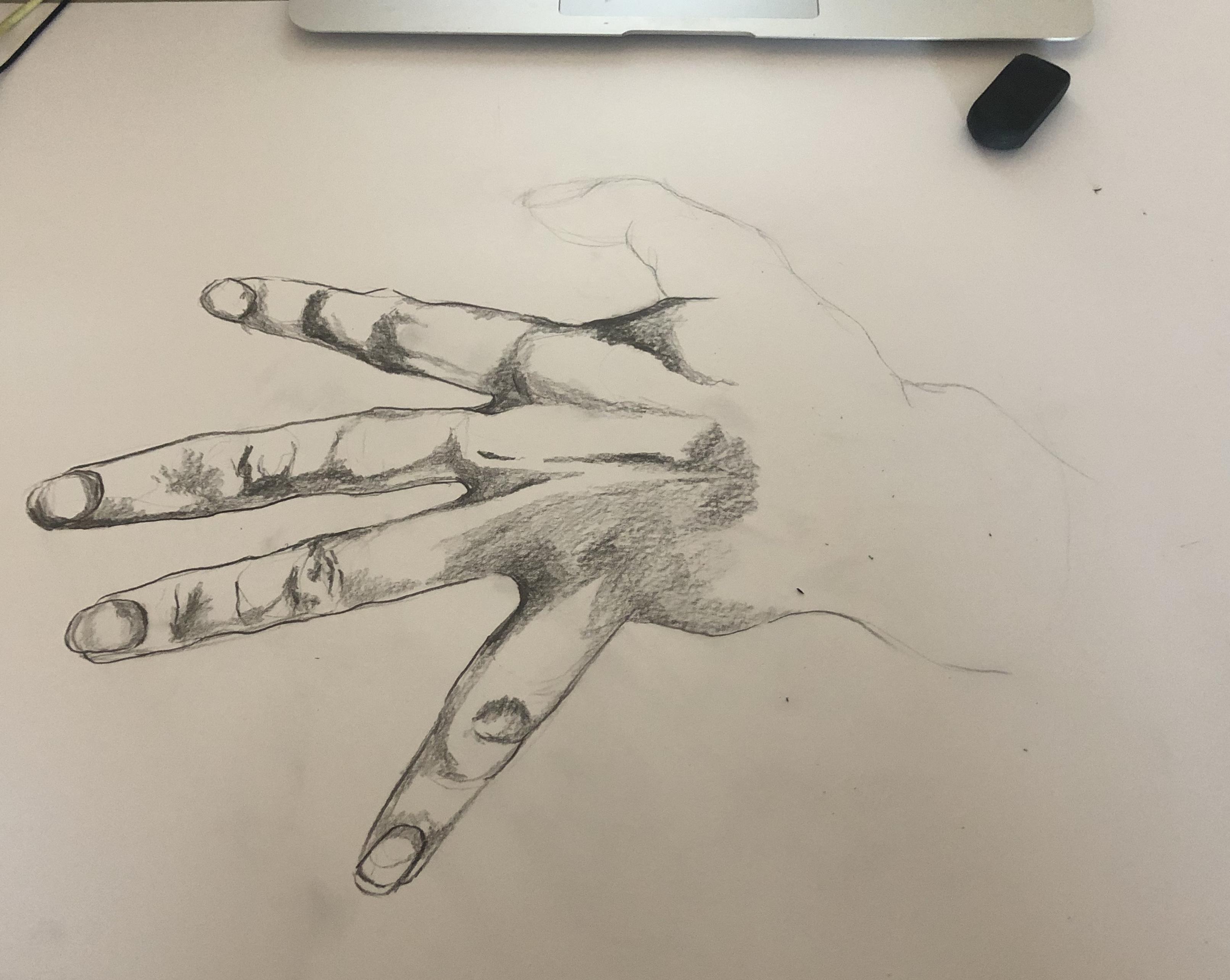 Esquisse crayon de papier main sur papier  cours de dessin