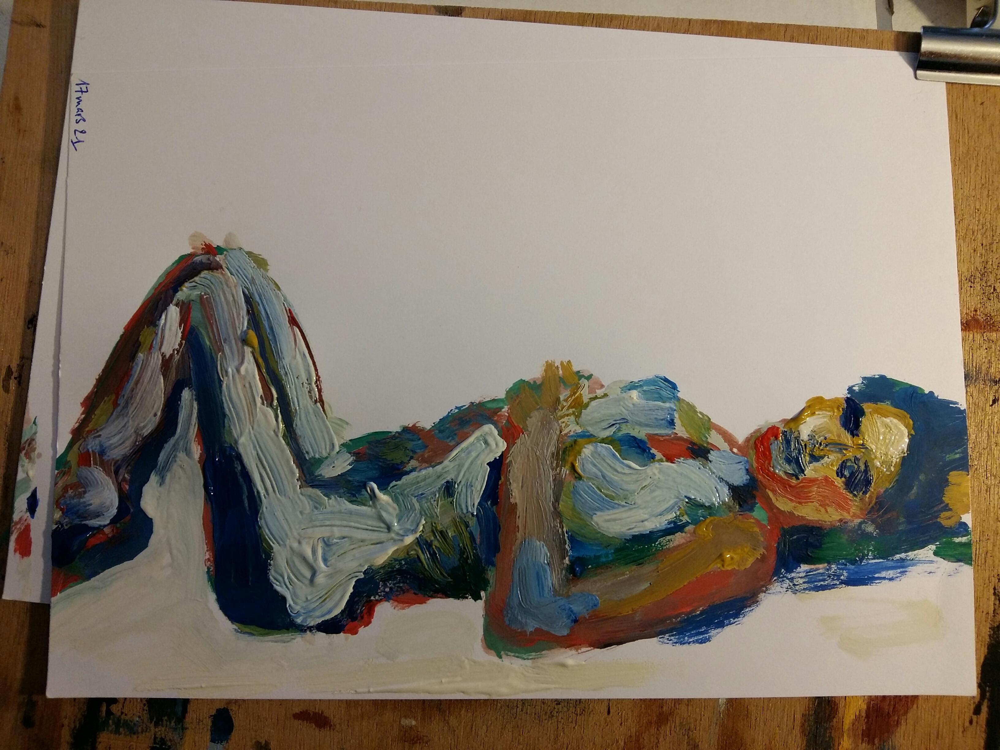 Femme allongée peinture polychrome sur papier  cours de dessin