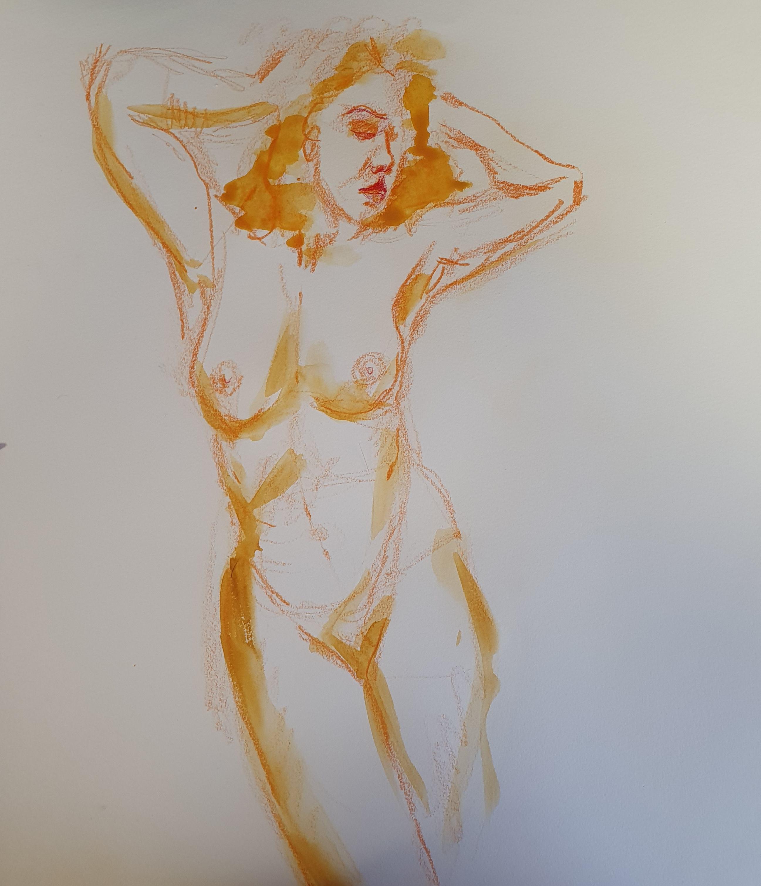 Technique mixte dessin aquarelle jaune crayon de couleur buste femme portraits  cours de dessin