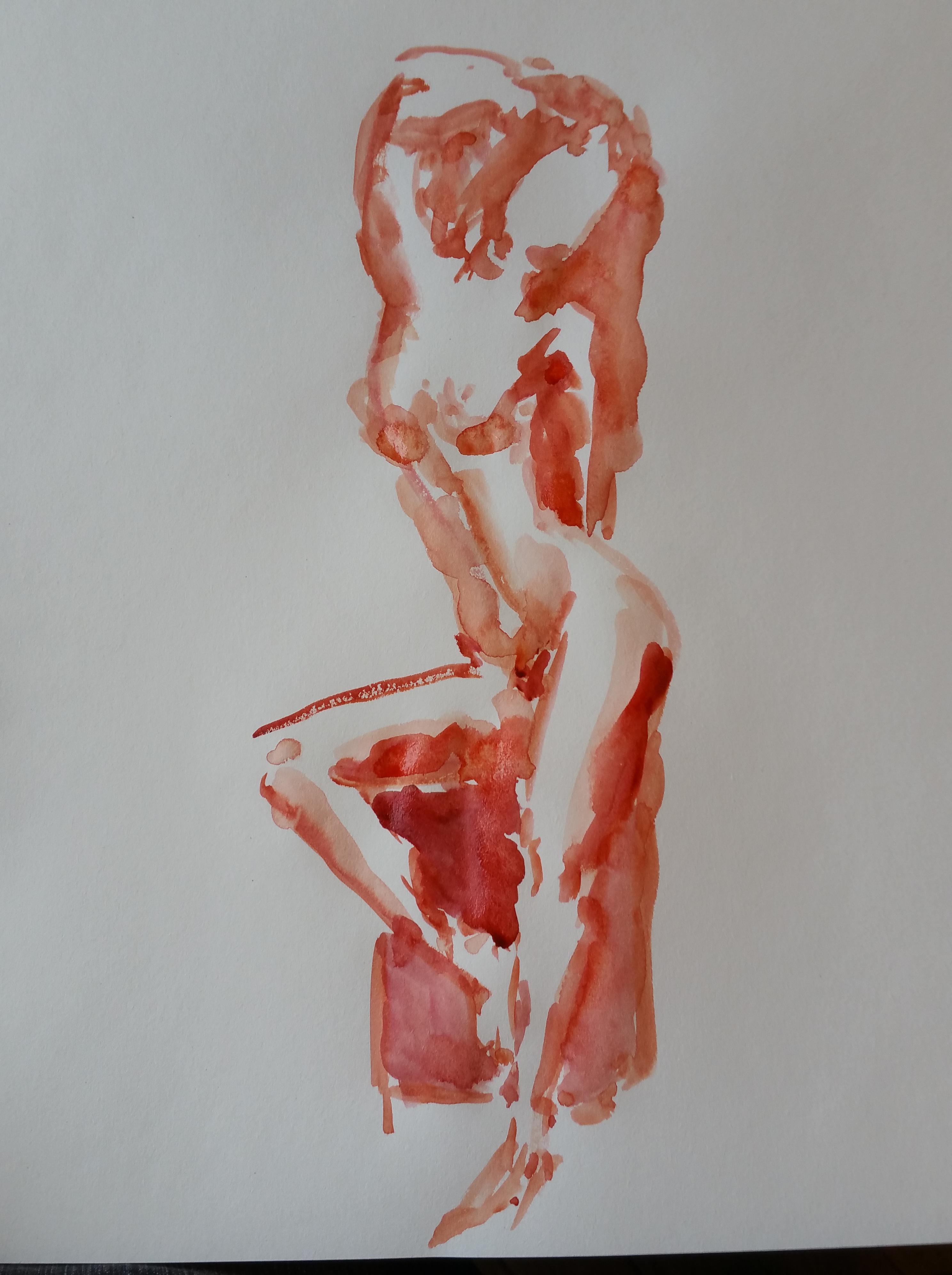 Mod�le vivant trois quarts face ainsi femme aquarelle rouge  cours de dessin