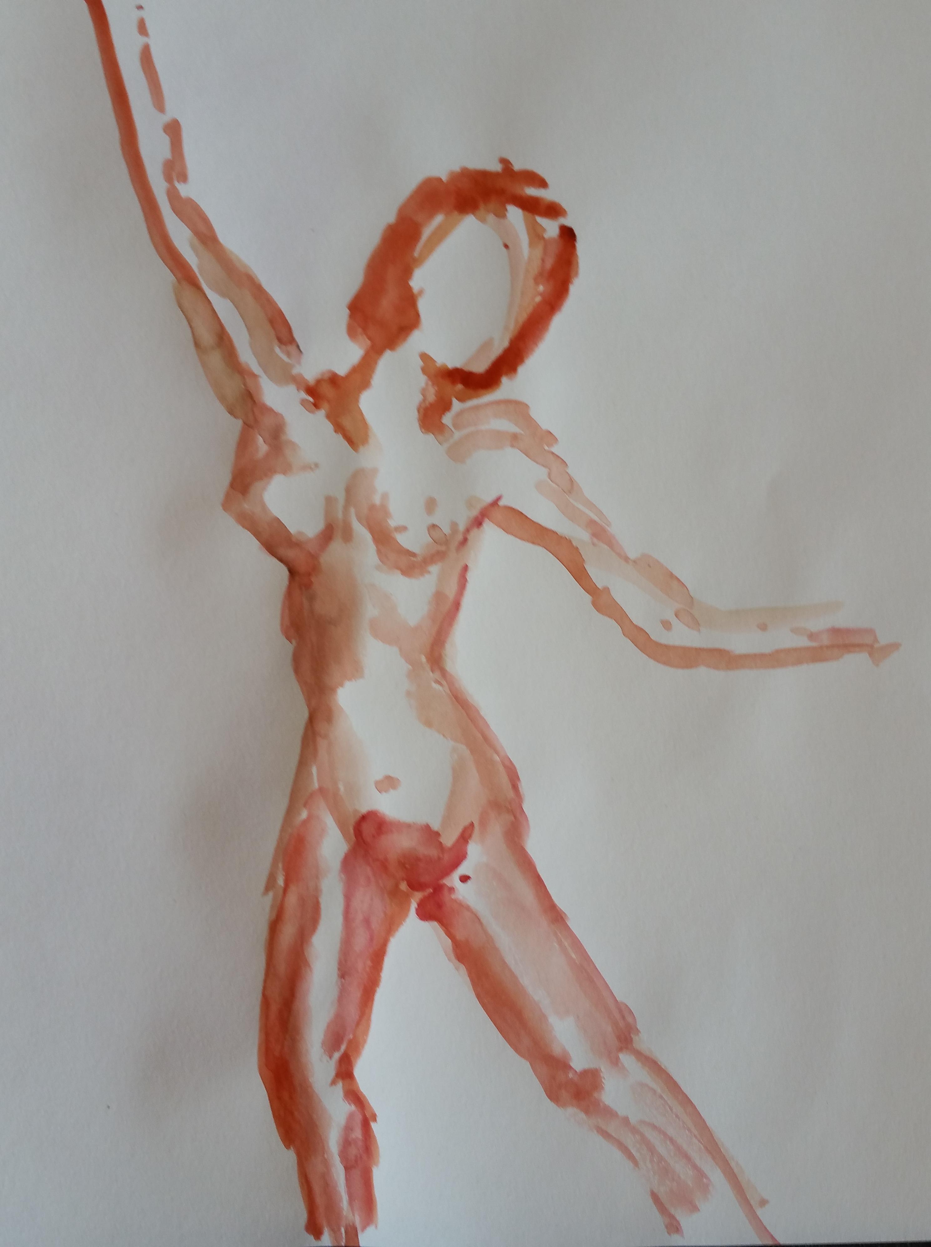 Esquisse rapide aquarelle rouge femme fasse  cours de dessin