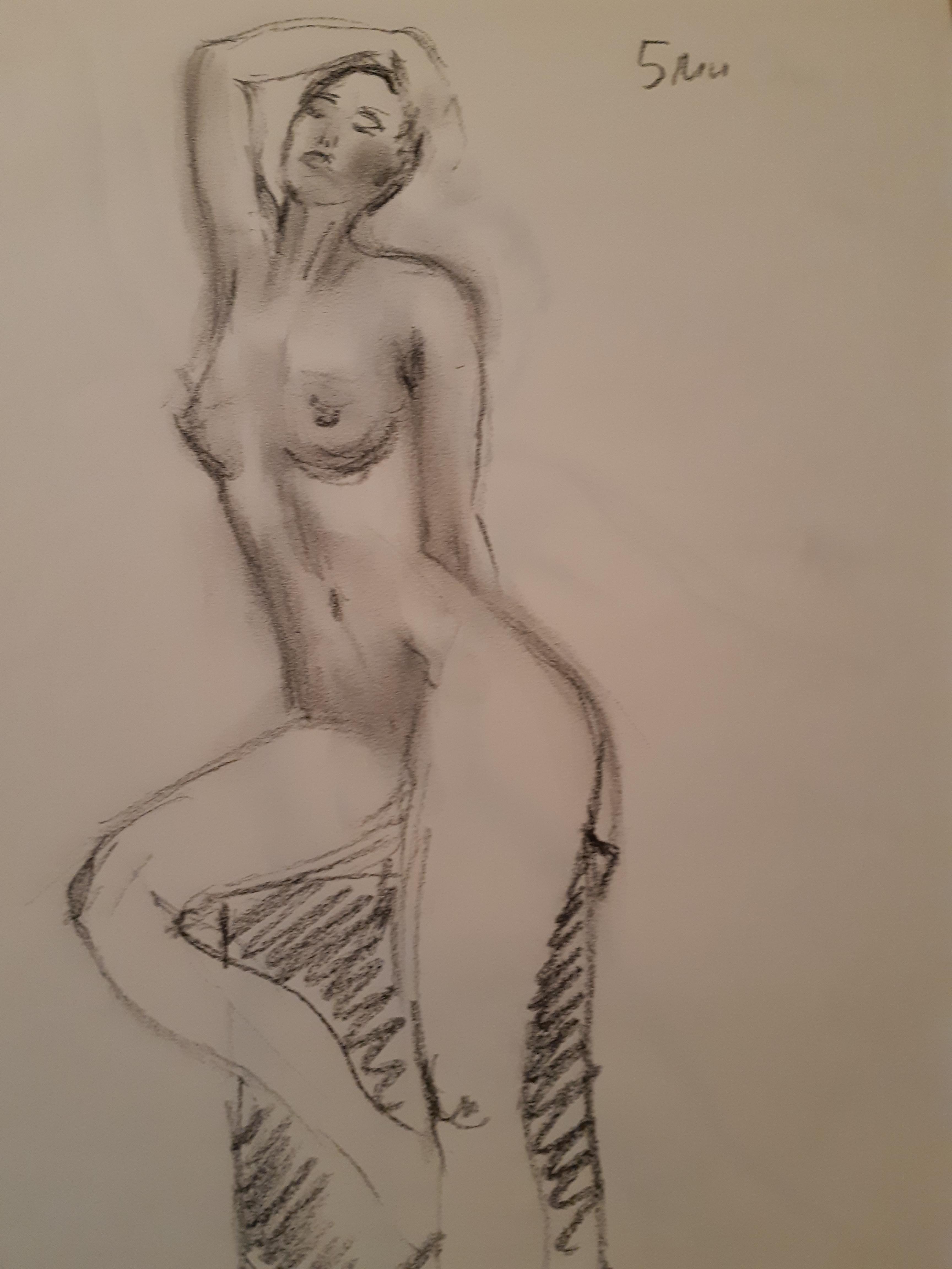 Dessin femme trois quarts face fusain estompent  cours de dessin
