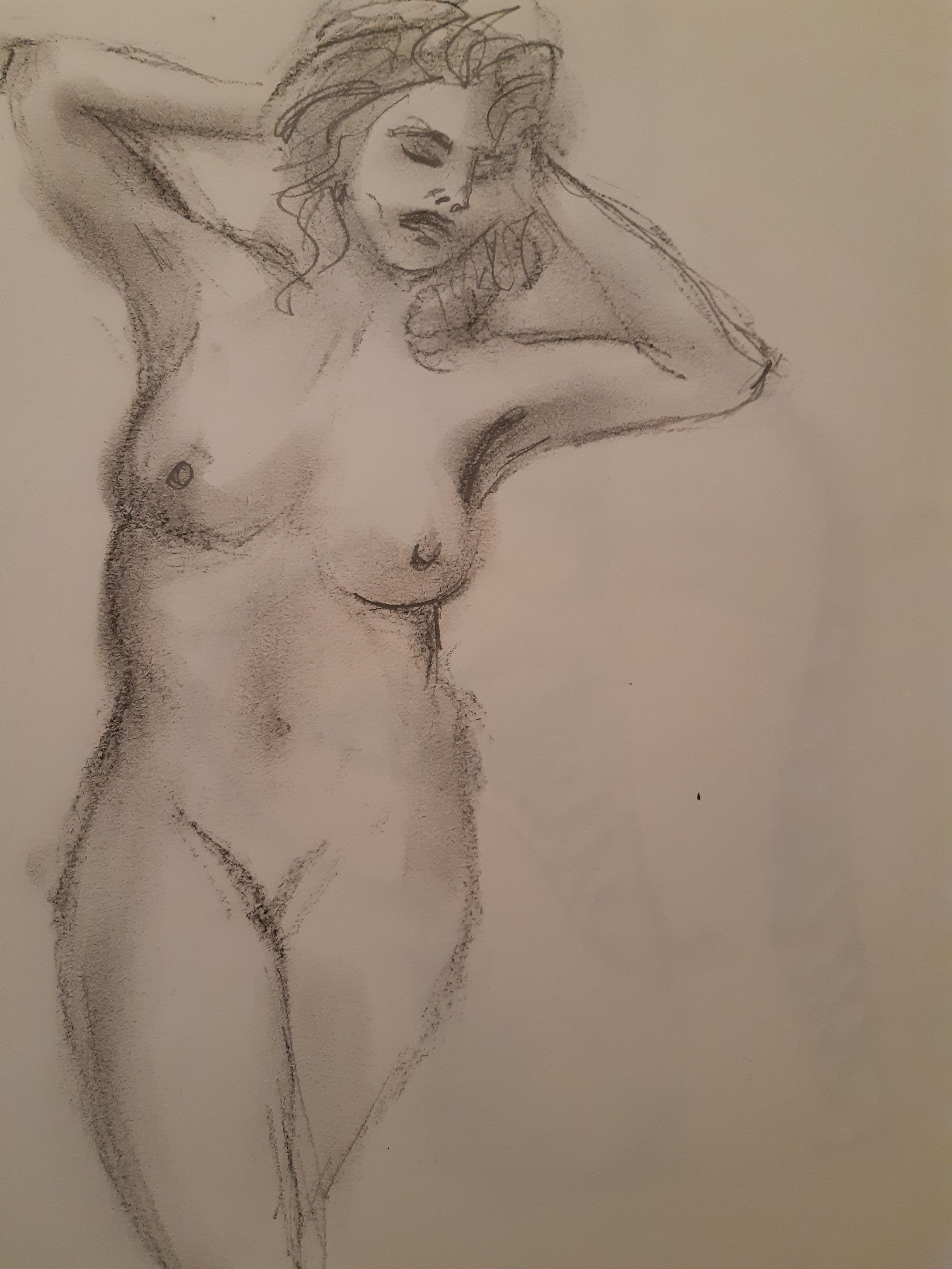 Esquisse fusain estompe mod�le vivant femme nue  cours de dessin