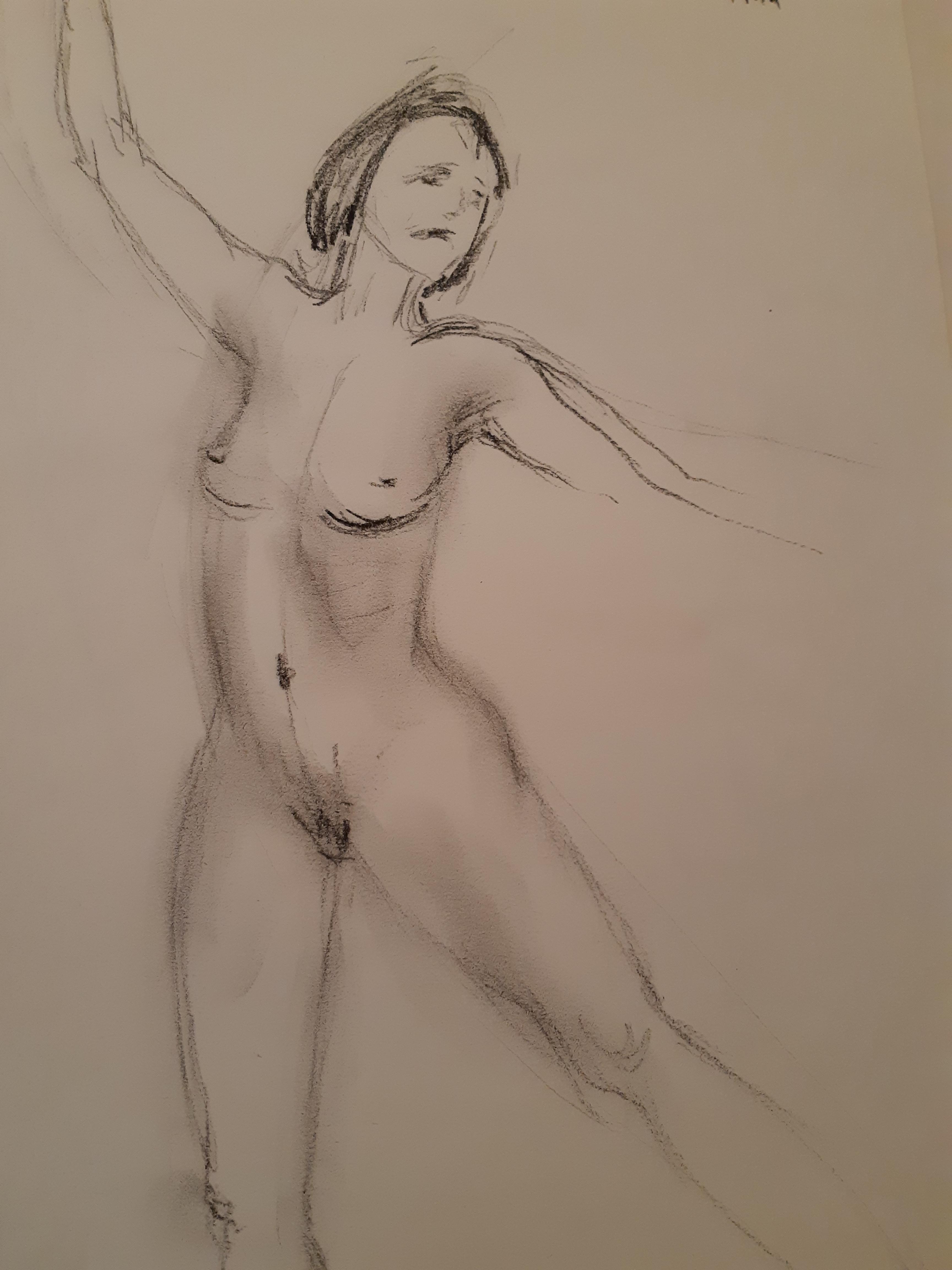 Danseuse fusain estompe trois quarts face femme  cours de dessin