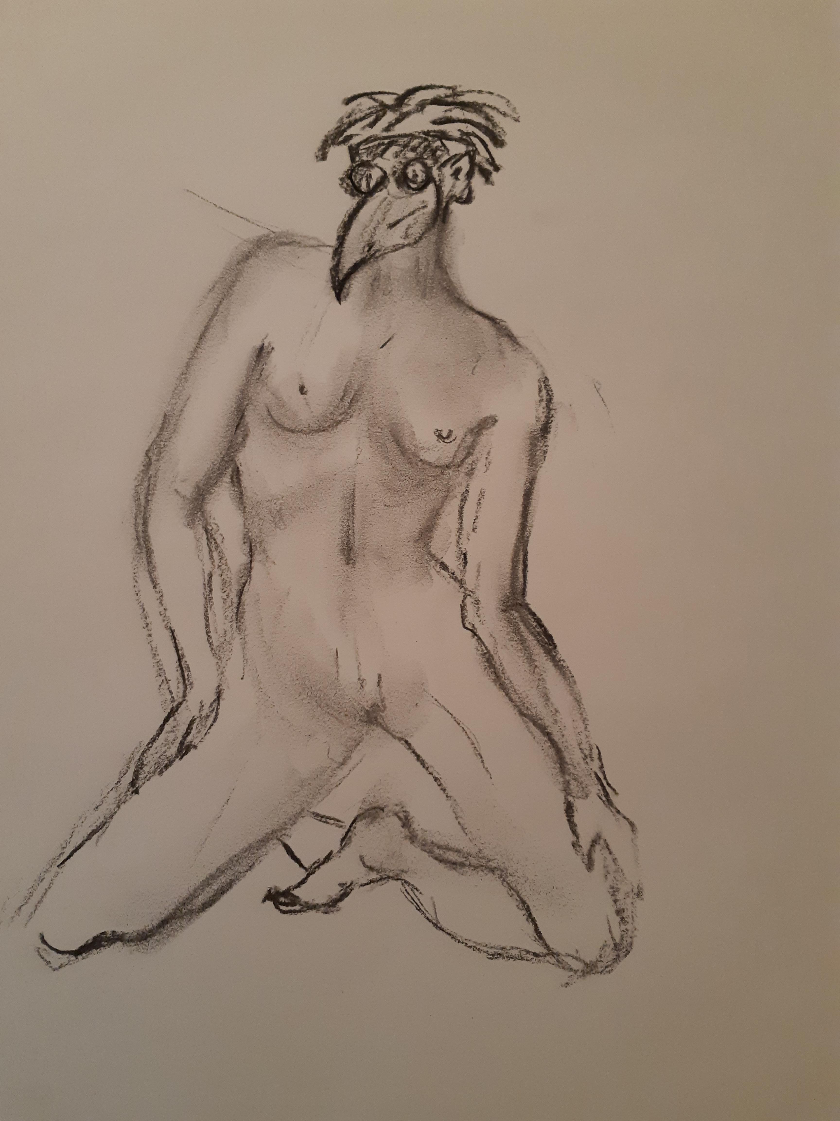 M�decin l'apaise dessin nu fusain  cours de dessin