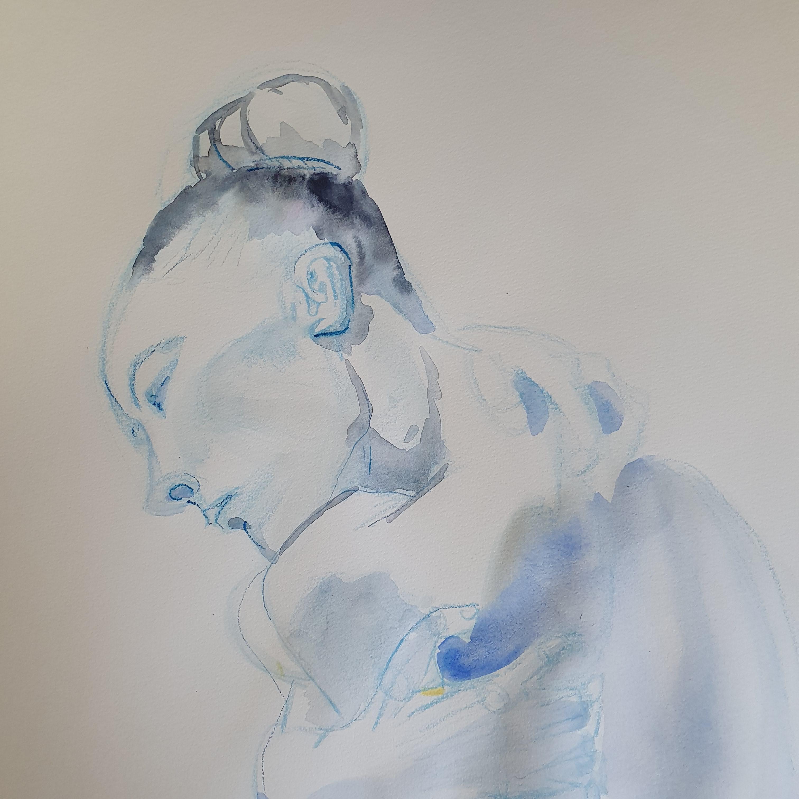 Portrait aquarelle le rez hausse crayon de couleur  cours de dessin
