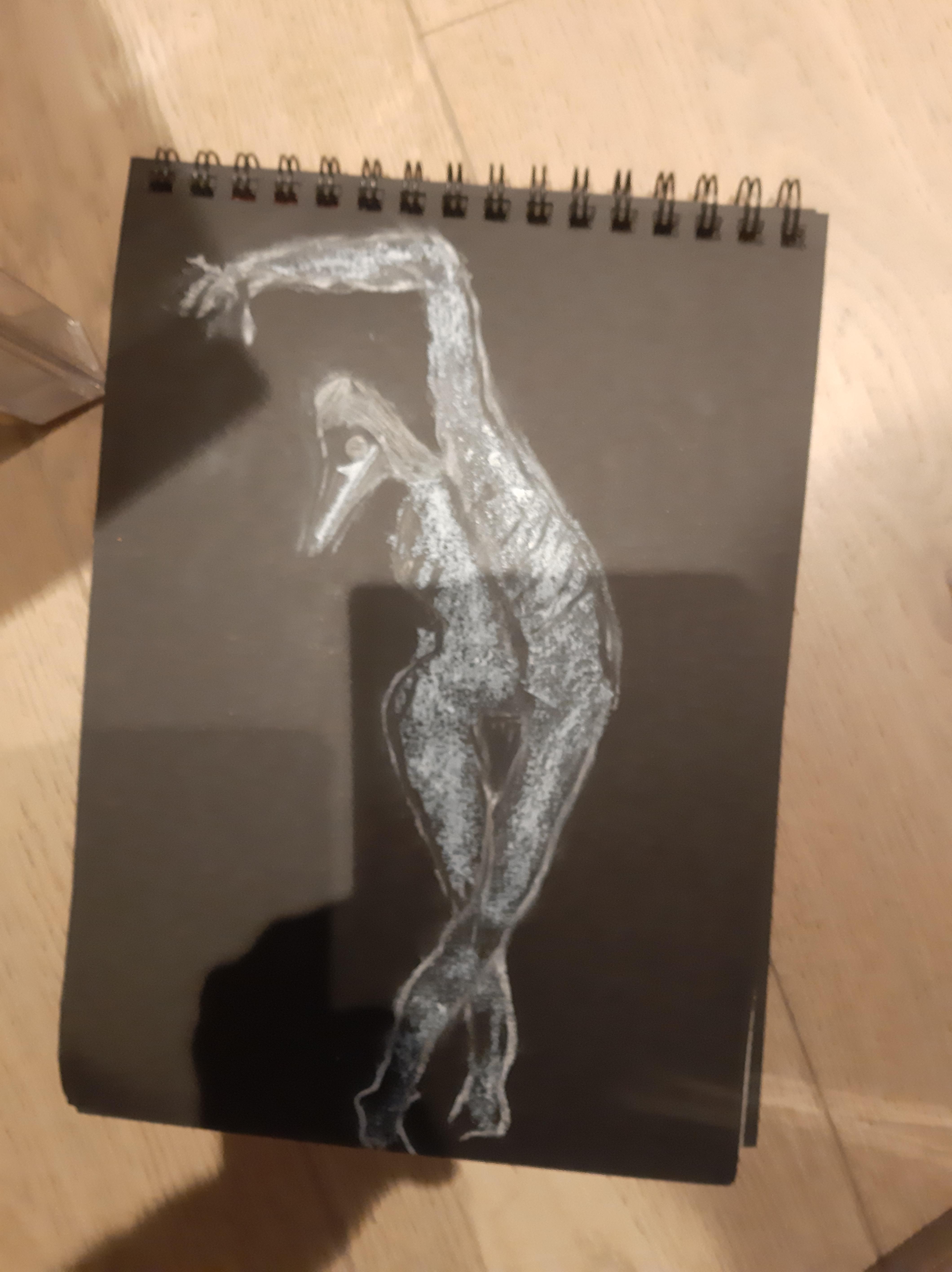 Dessin m�decin de la peste craie blanche papier noir  cours de dessin