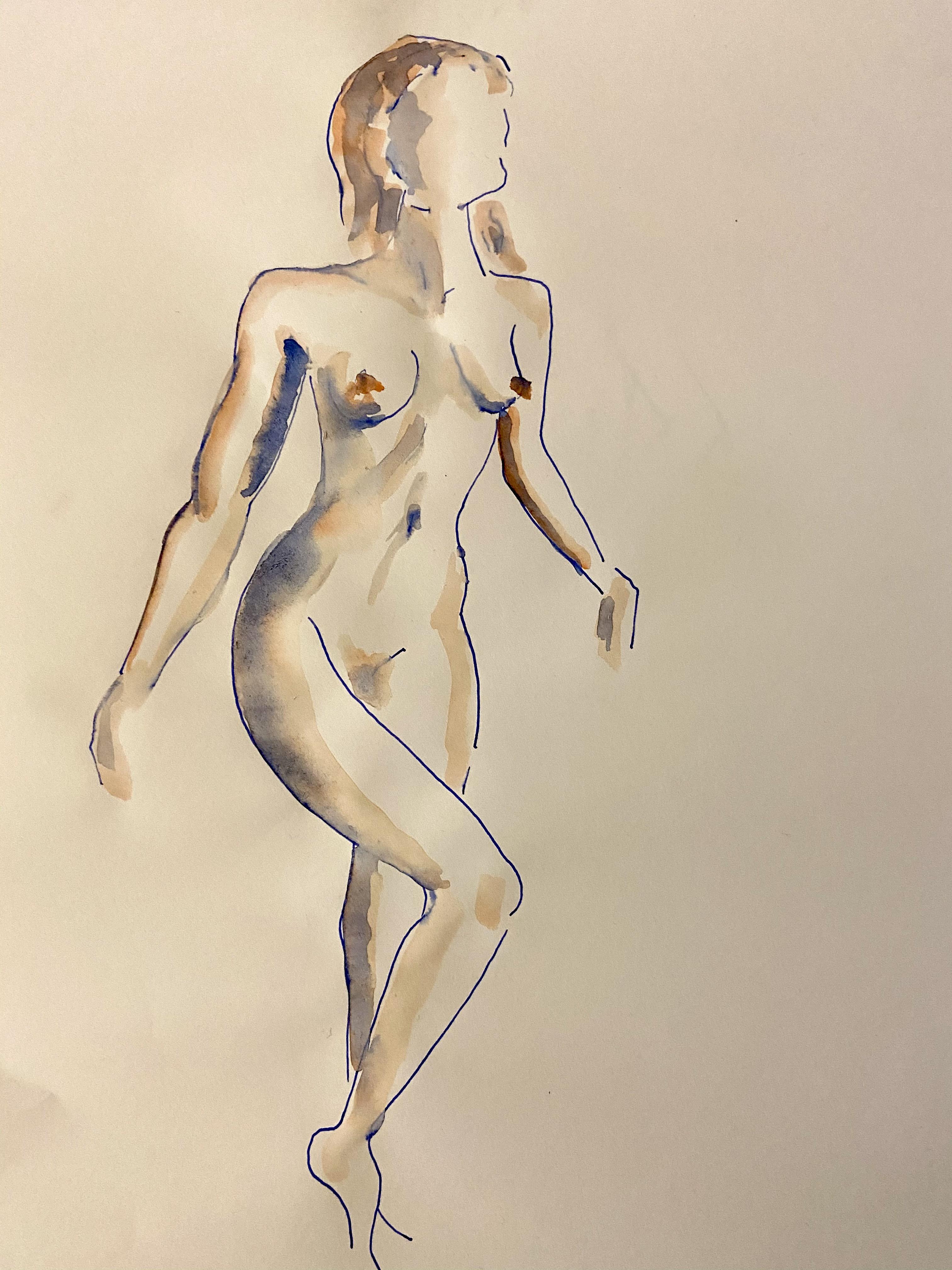 Dessins � la plume trois quarts face avec aquarelle  cours de dessin