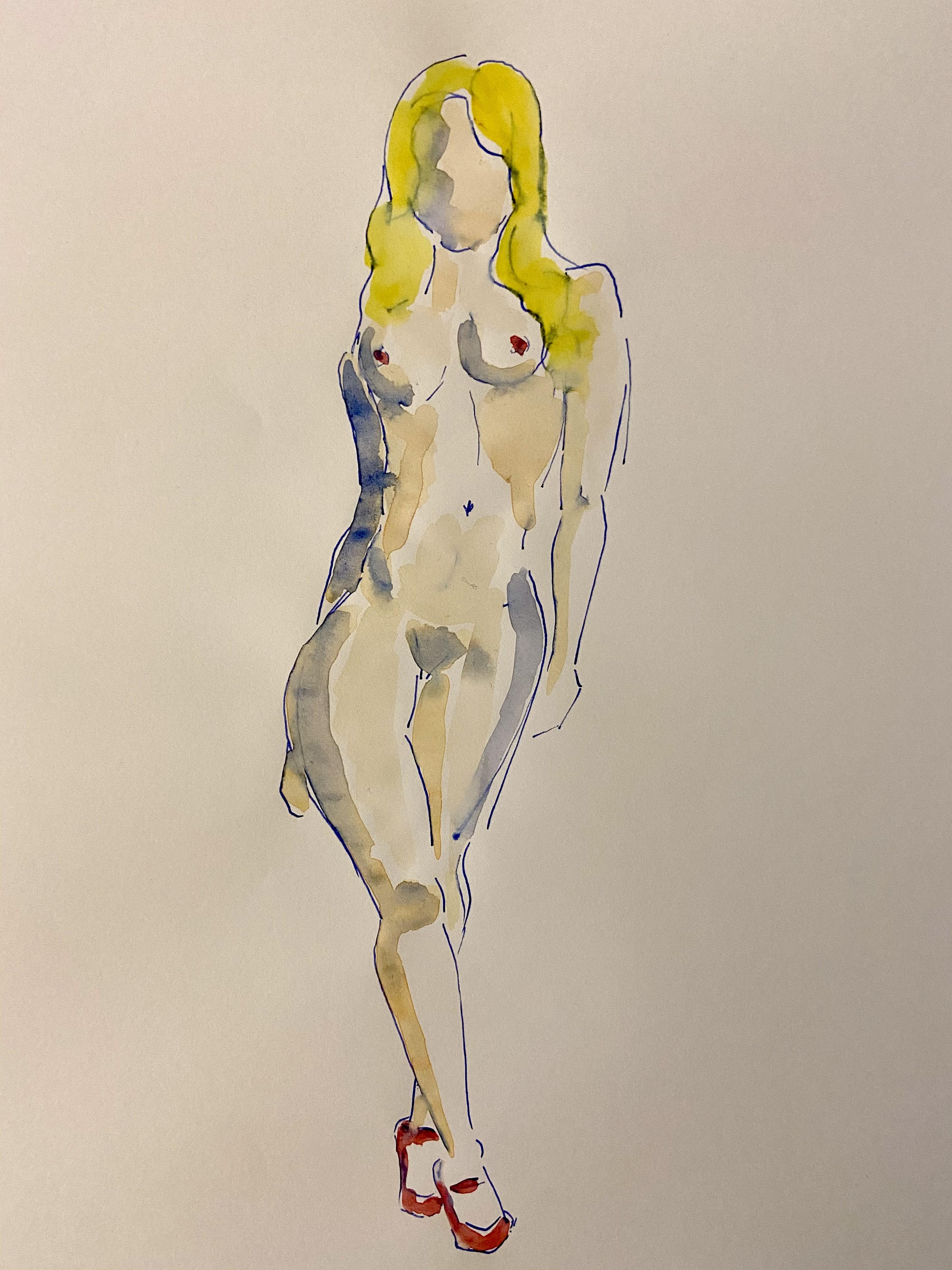 Dessin aquarelles polychrome femme face dessin � la plume  cours de dessin