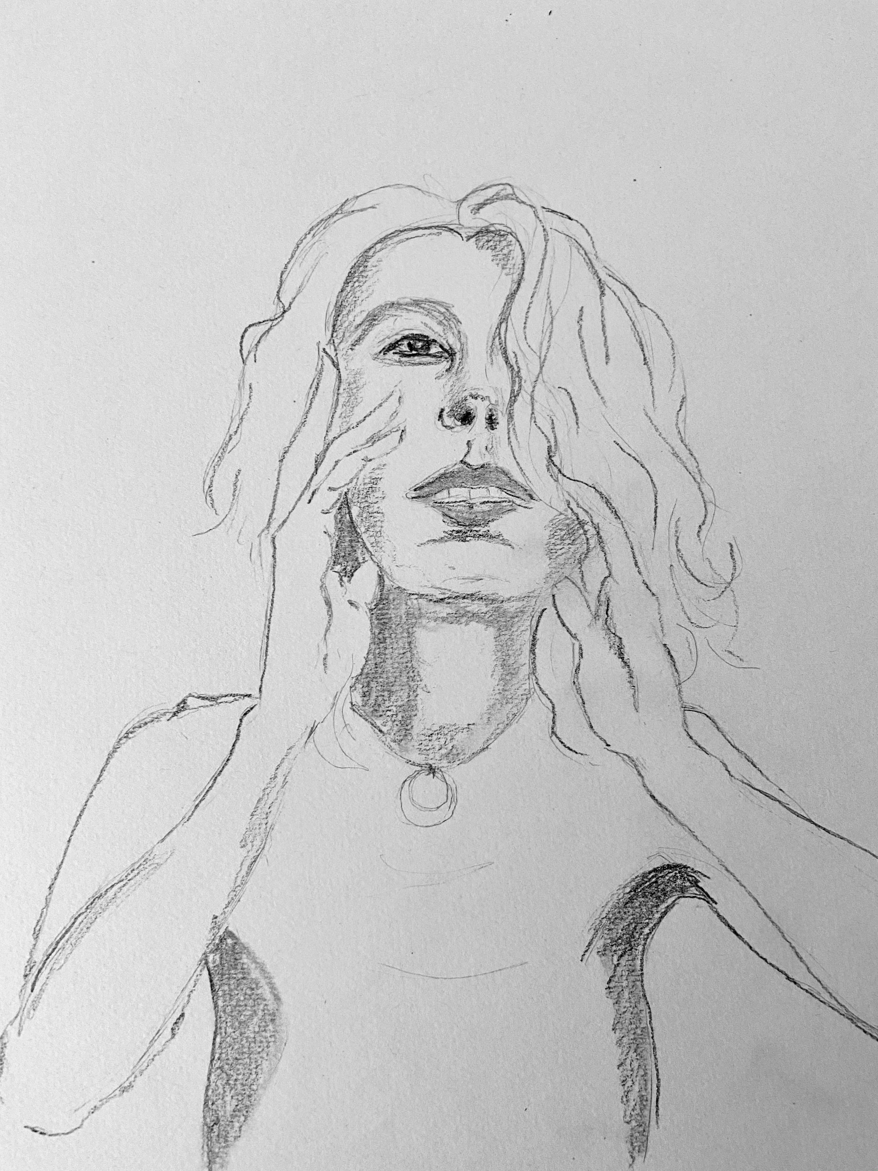 Portrait graphite femme papier  cours de dessin