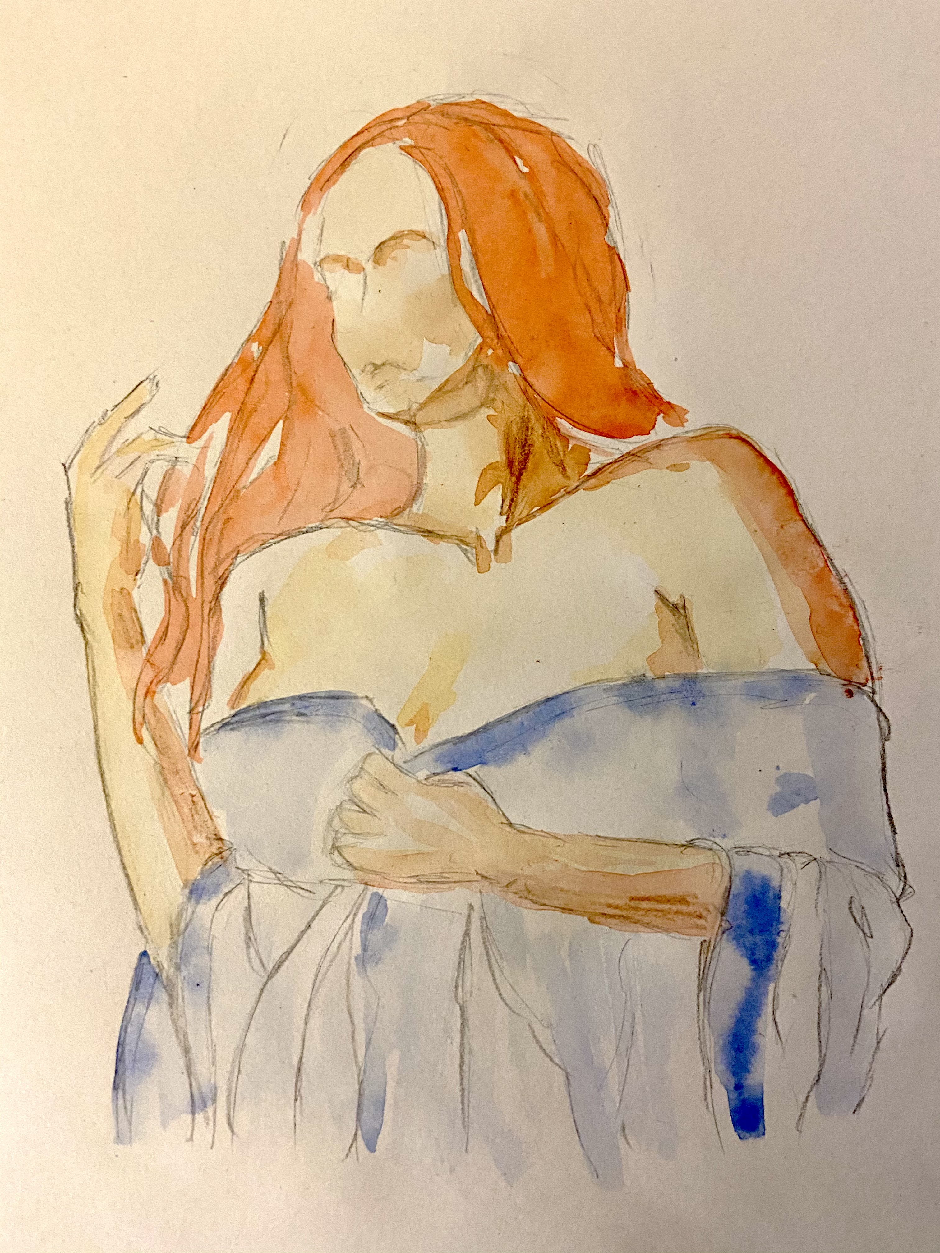 Buste femme drapé aquarelle orange drap bleue  cours de dessin