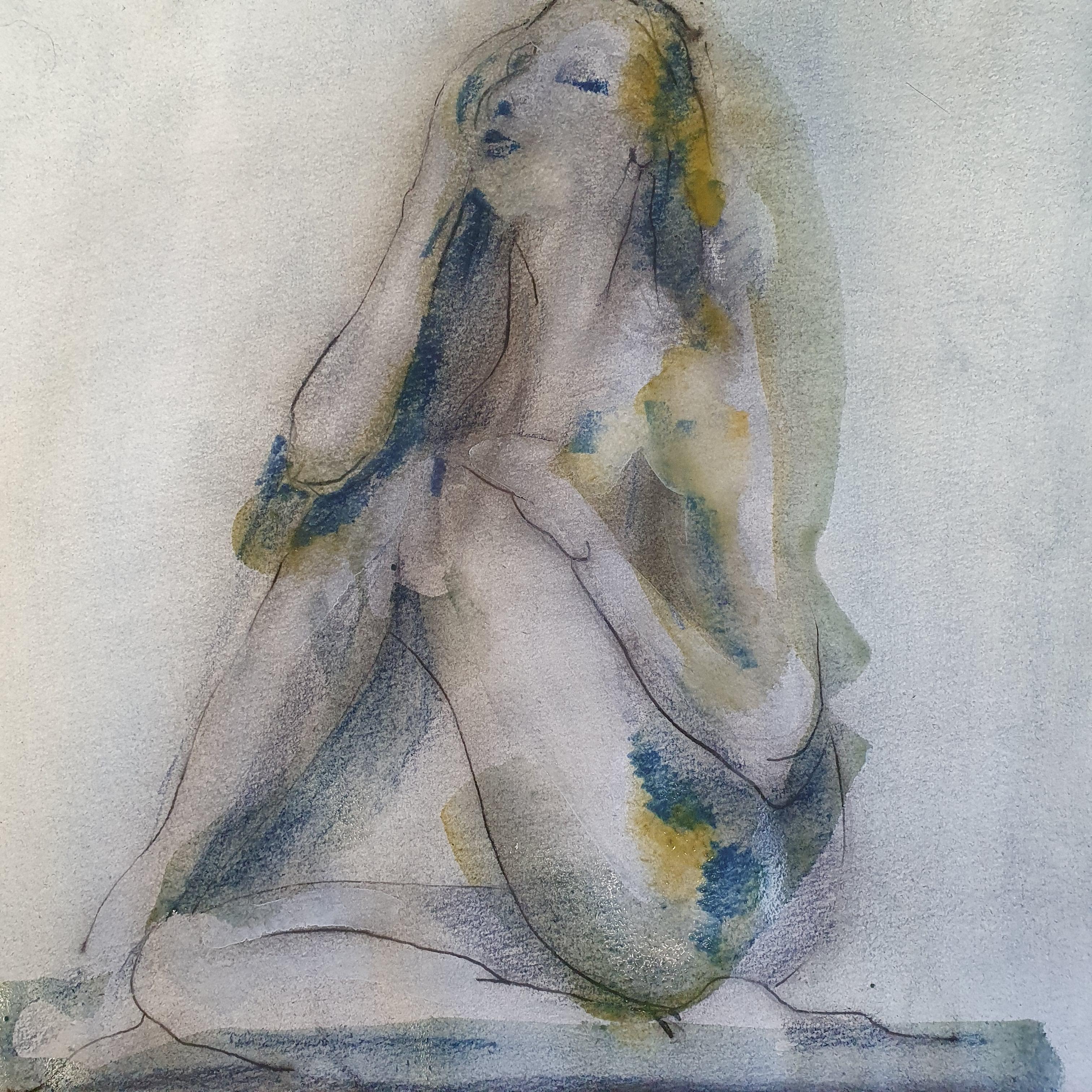 Dessin pose assise femme trois quarts face technique mixte aquarelle dessin � la plume pastel  cours de dessin