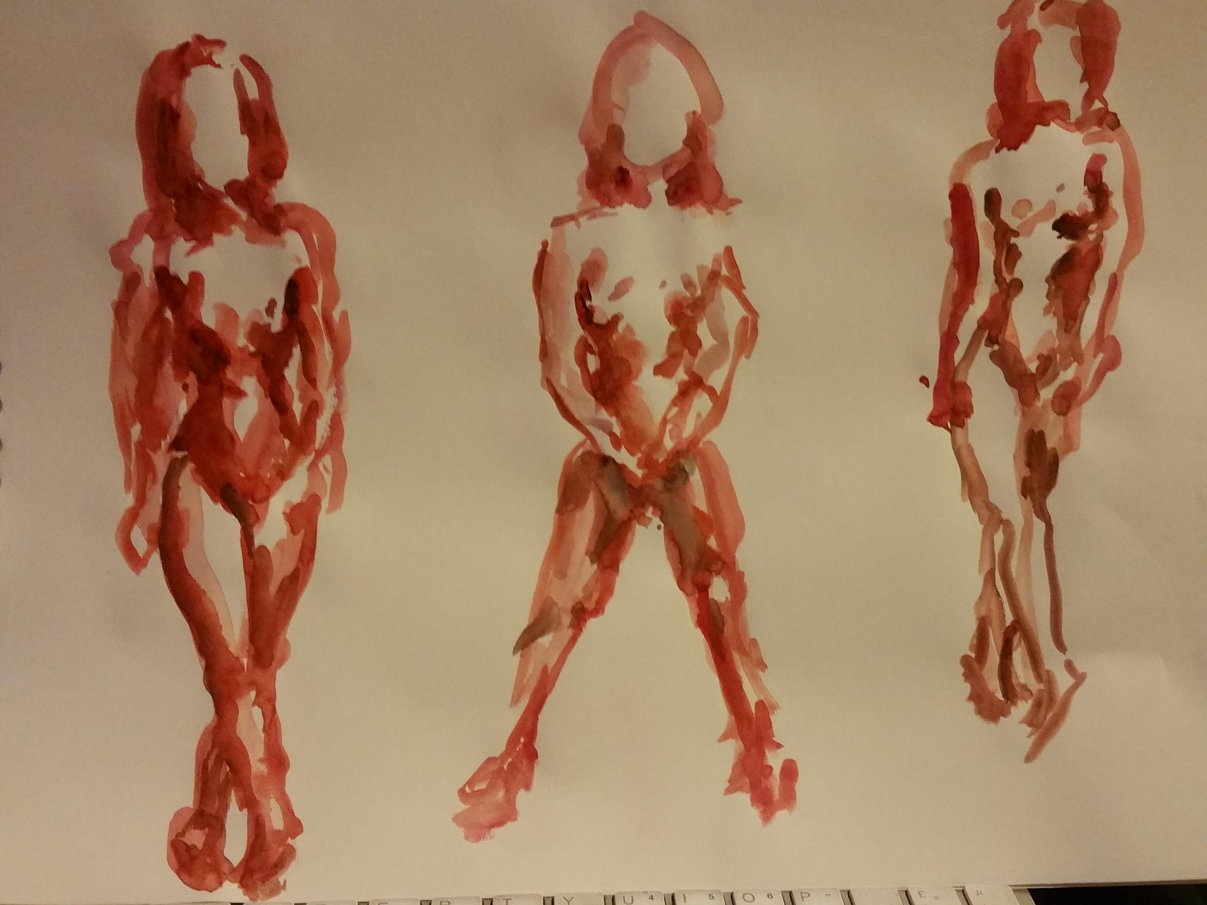 Esquisse rapide aquarelle �tude de mouvement corps f�minin  cours de dessin
