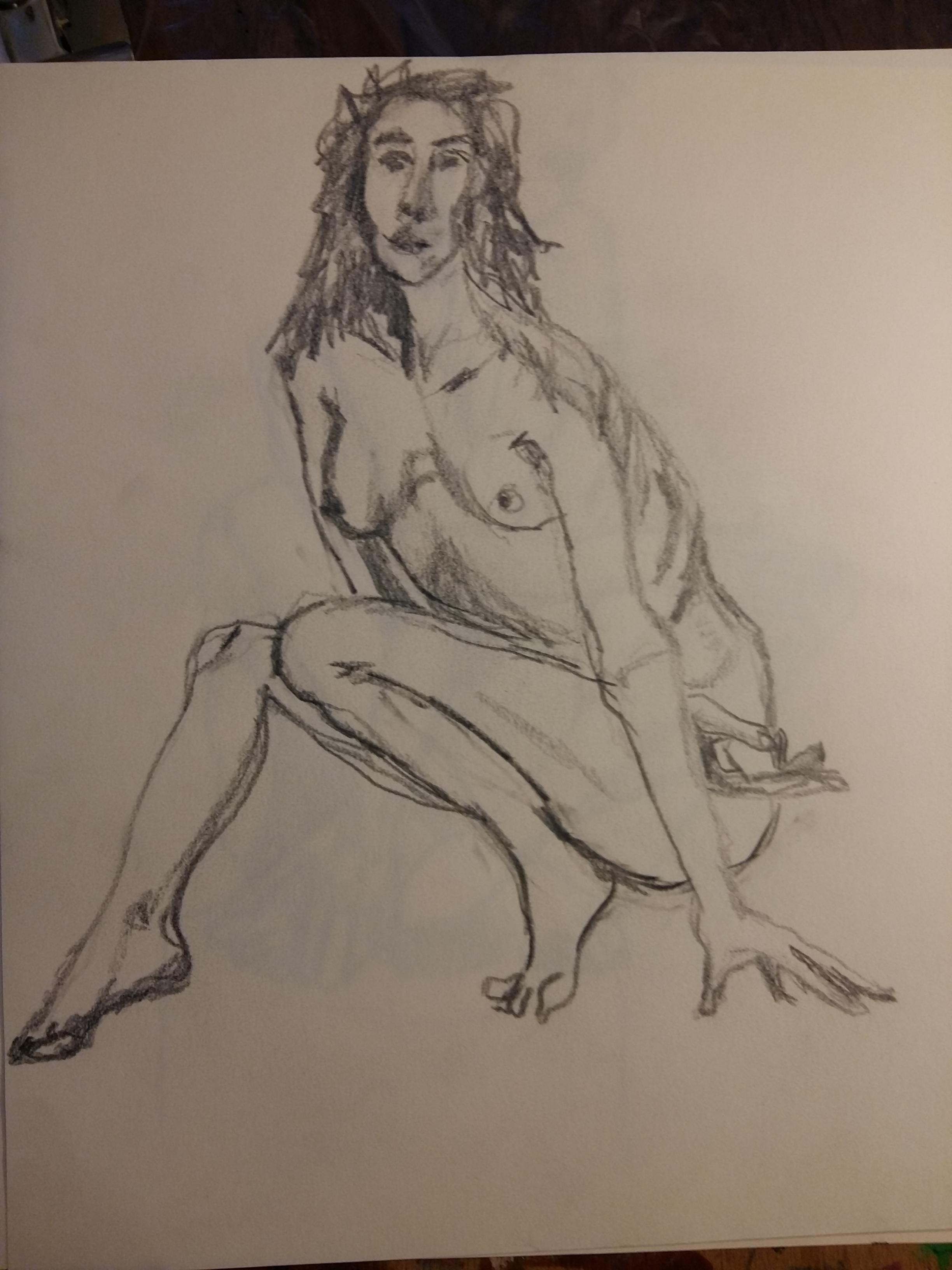 Dessin femme trois quarts assise crayon papier valeurs de gris  cours de dessin