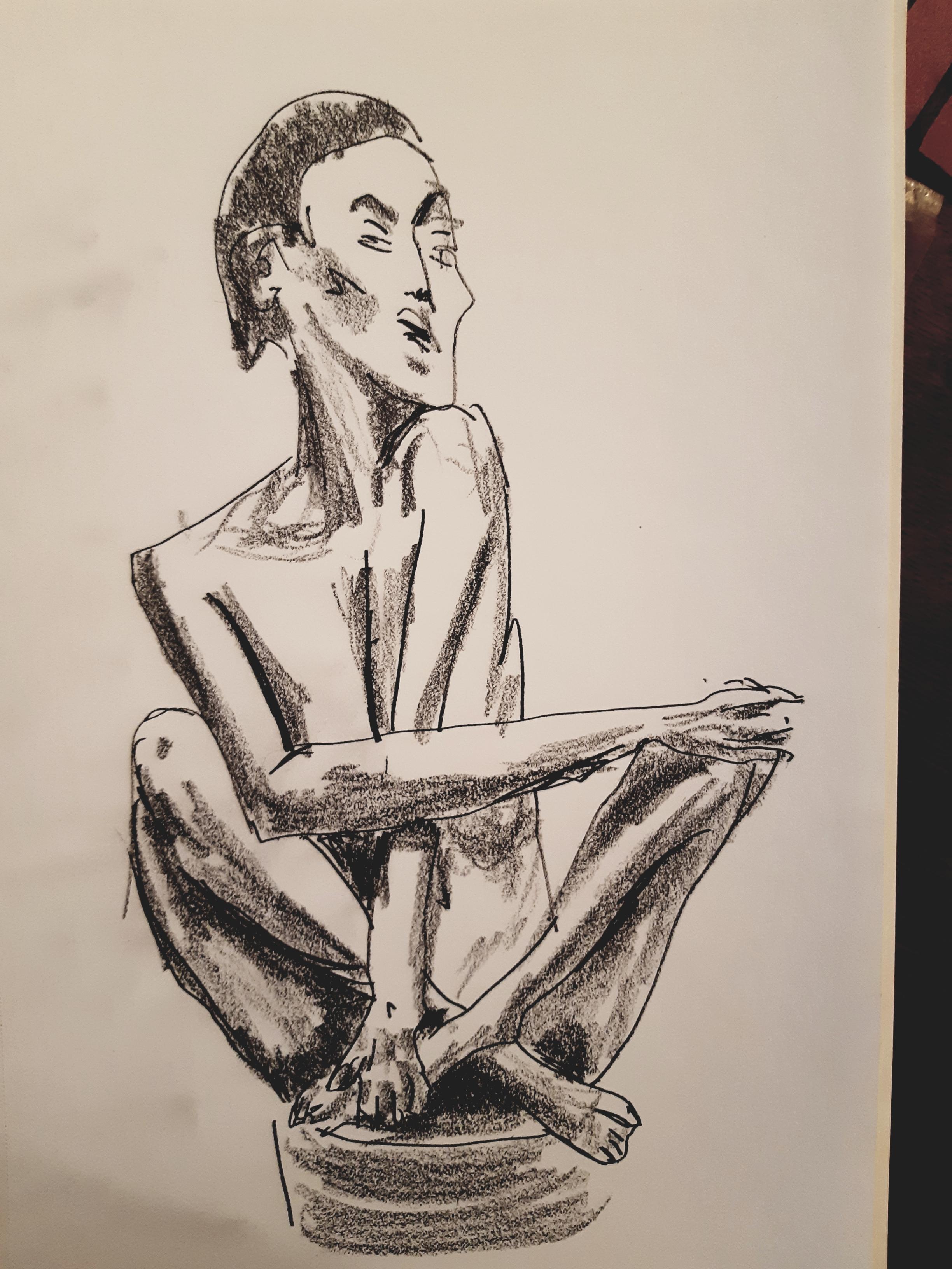 Esquisse feutre fusain statuettes dessin  cours de dessin