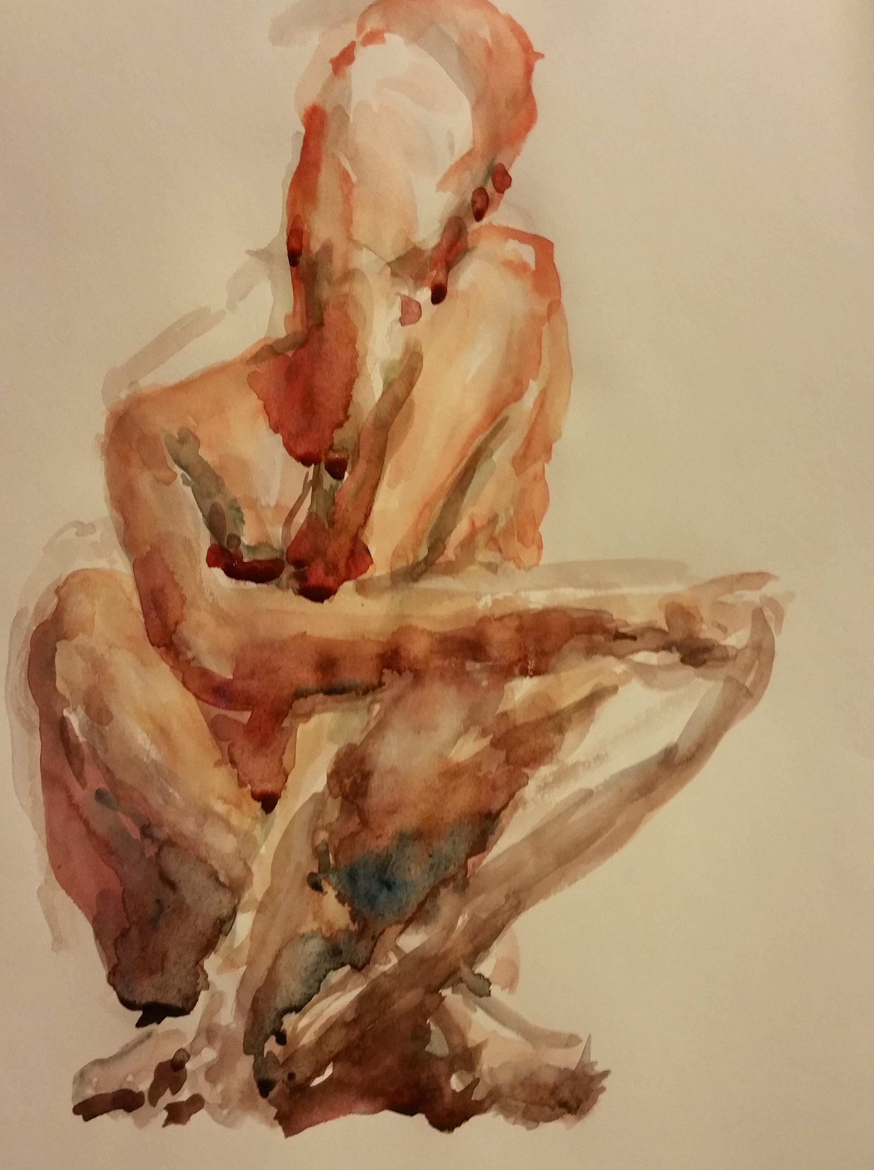 Aquarelle femme accroupie face Orange  cours de dessin