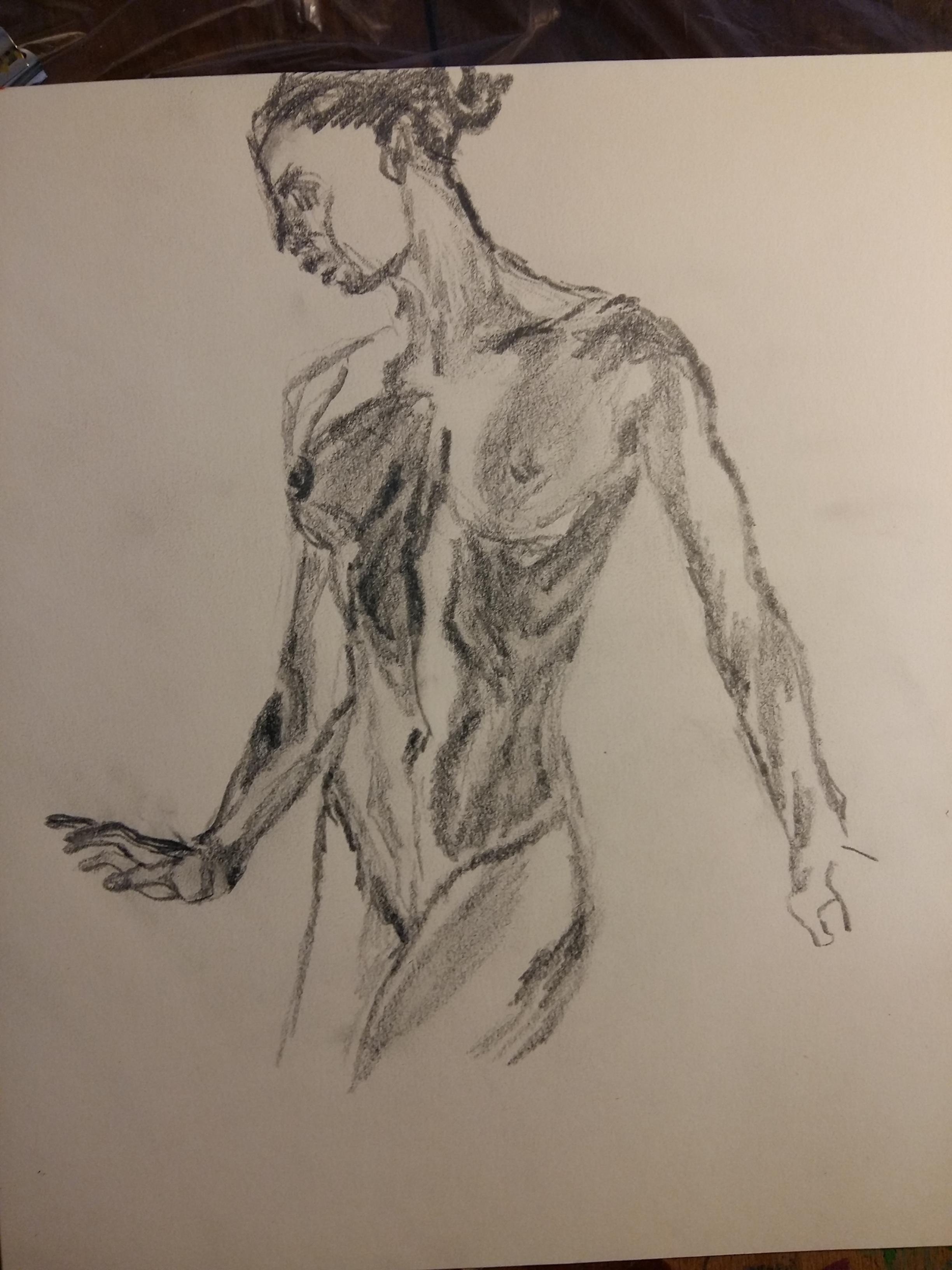 Buste femme 3/4 dessin mine de plomb sur papier  cours de dessin