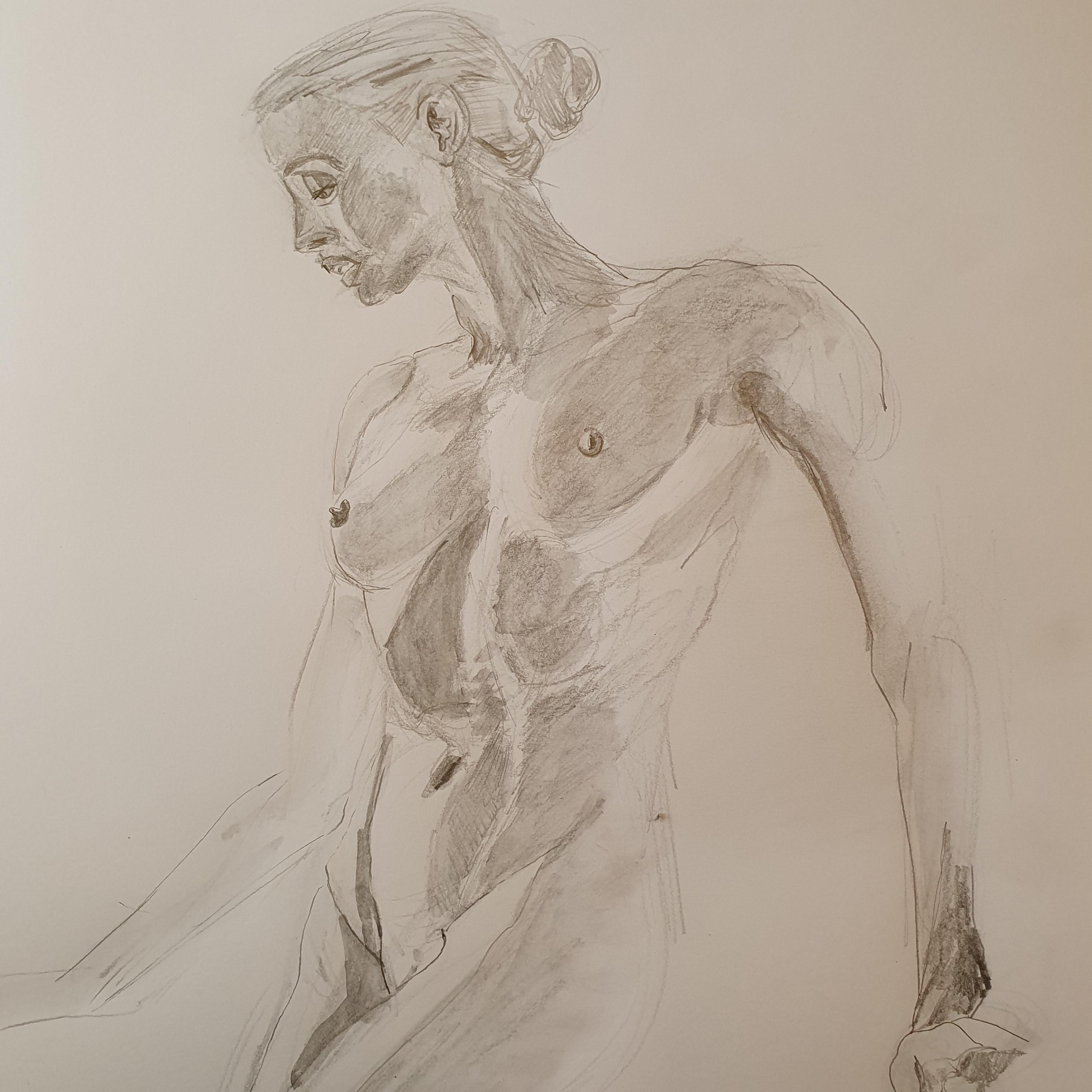 Buste femme 3/4 face aquarelle crayon papier pastel  cours de dessin