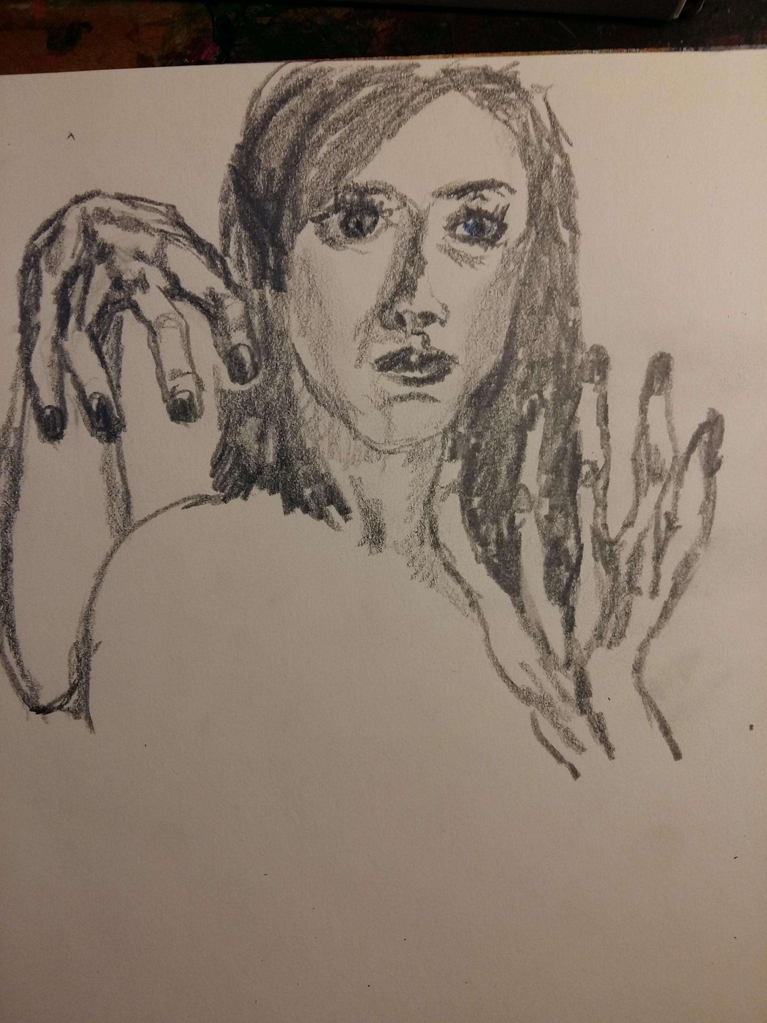 �bauche portrait graphite mine de plomb gras  cours de dessin