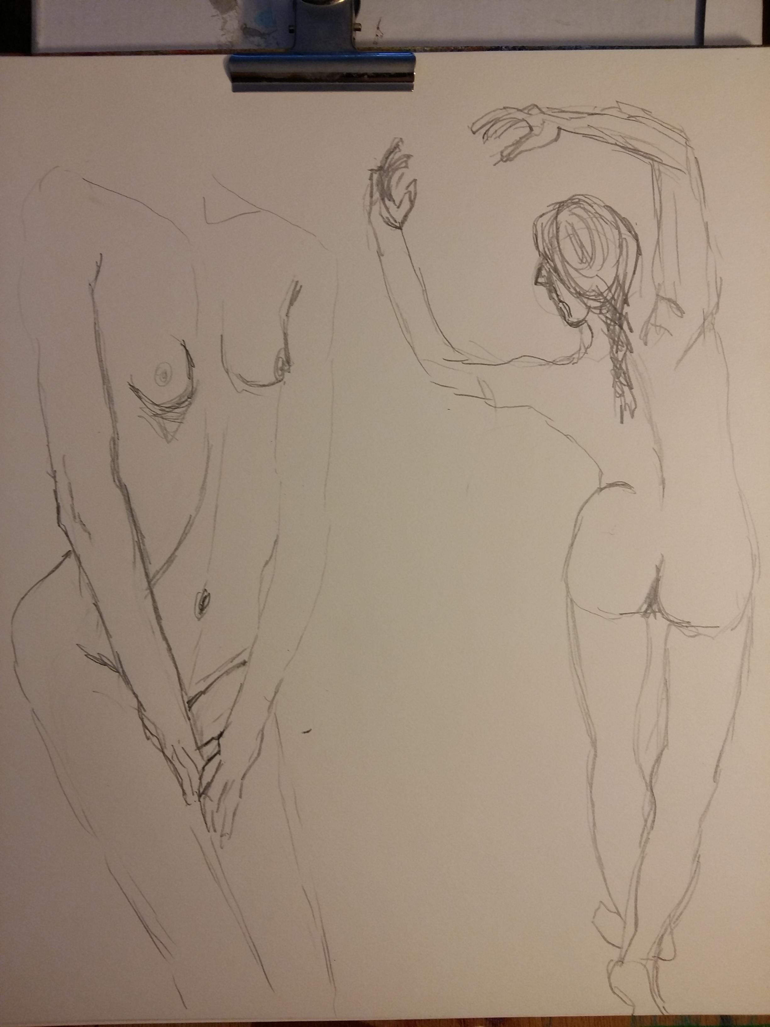 Deux esquisses face et dos danseuse crayon de papier modèle vivant cours de dessin  cours de dessin