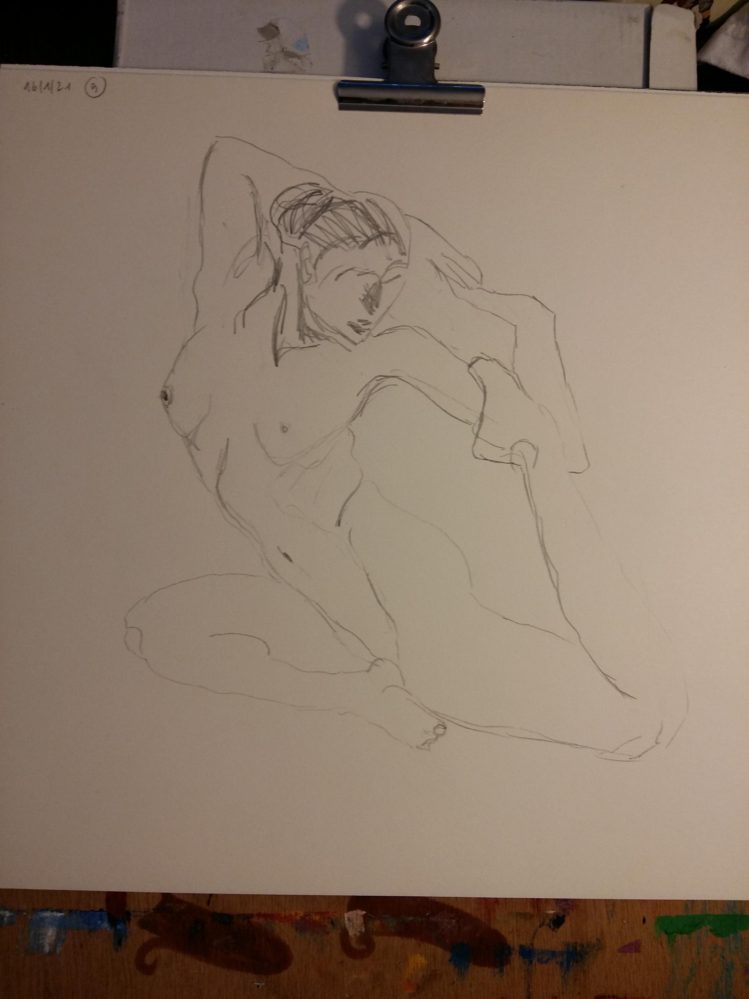 �bauche dessin trois quarts face ainsi mod�le vivant dessin papier graphite  cours de dessin
