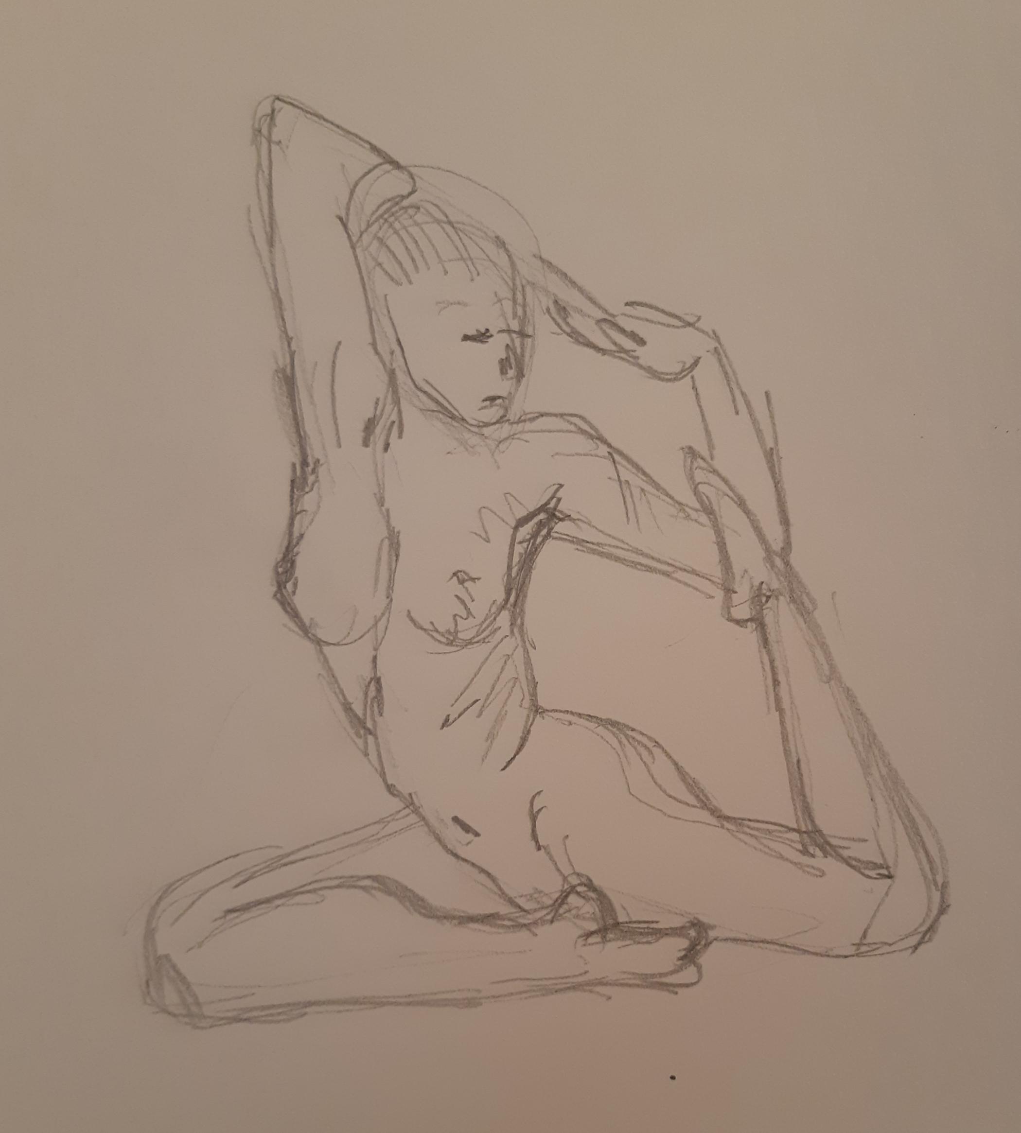 Esquisse rapide hachures femme 3/4 assise nue graphite papier  cours de dessin