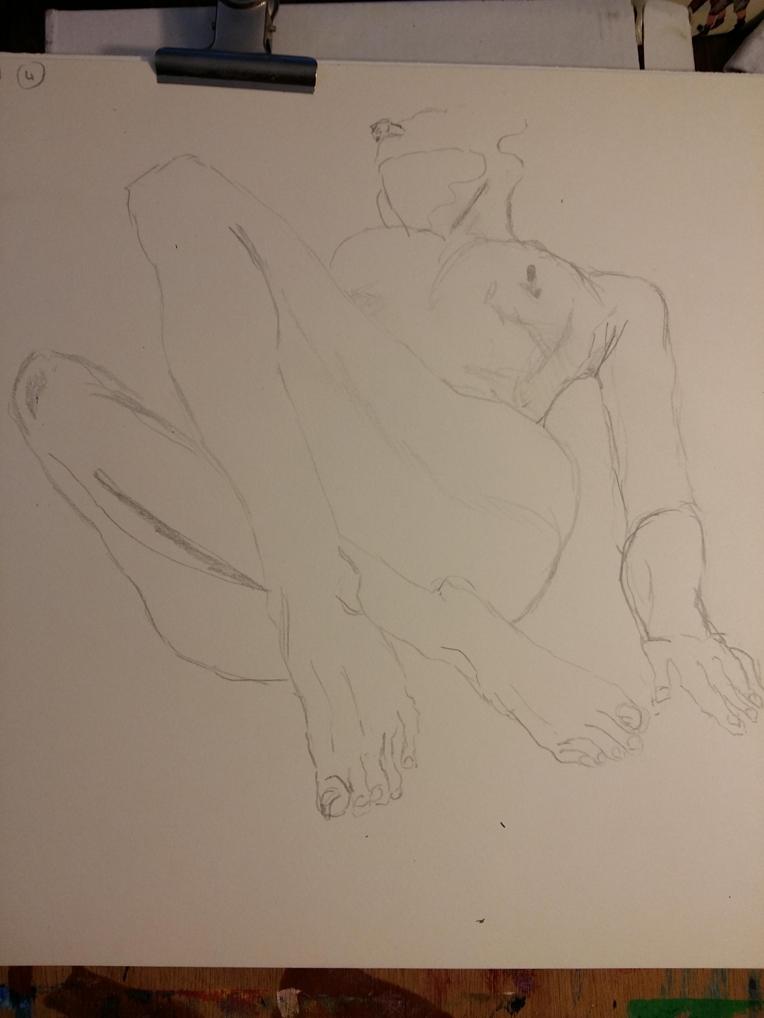Dessin au trait mod�le vivant face femme graphite sur papier  cours de dessin