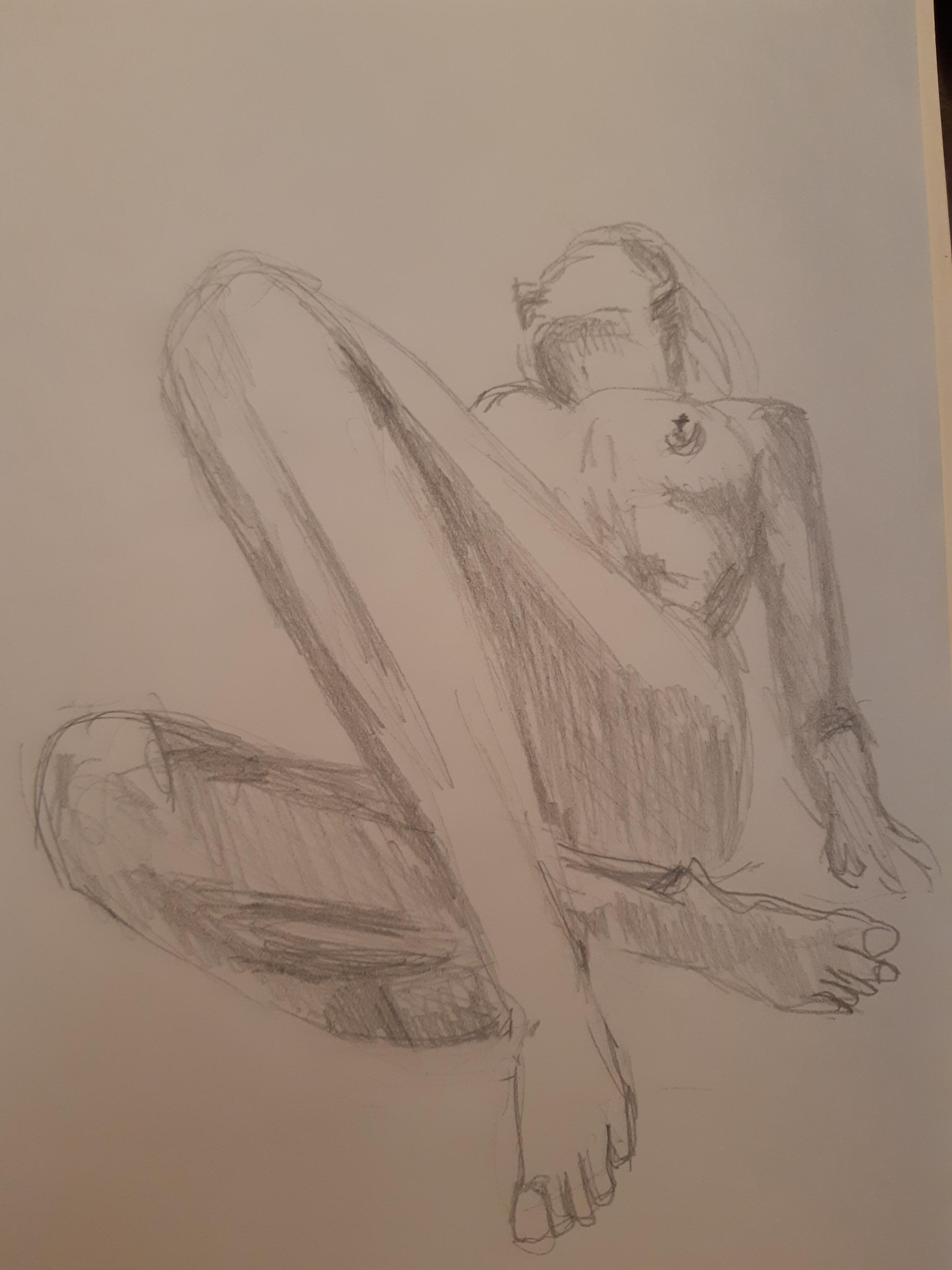 Esquisse rapide dessin modèle vivant face raccourcie hachures crayon papier cours de dessin  cours de dessin