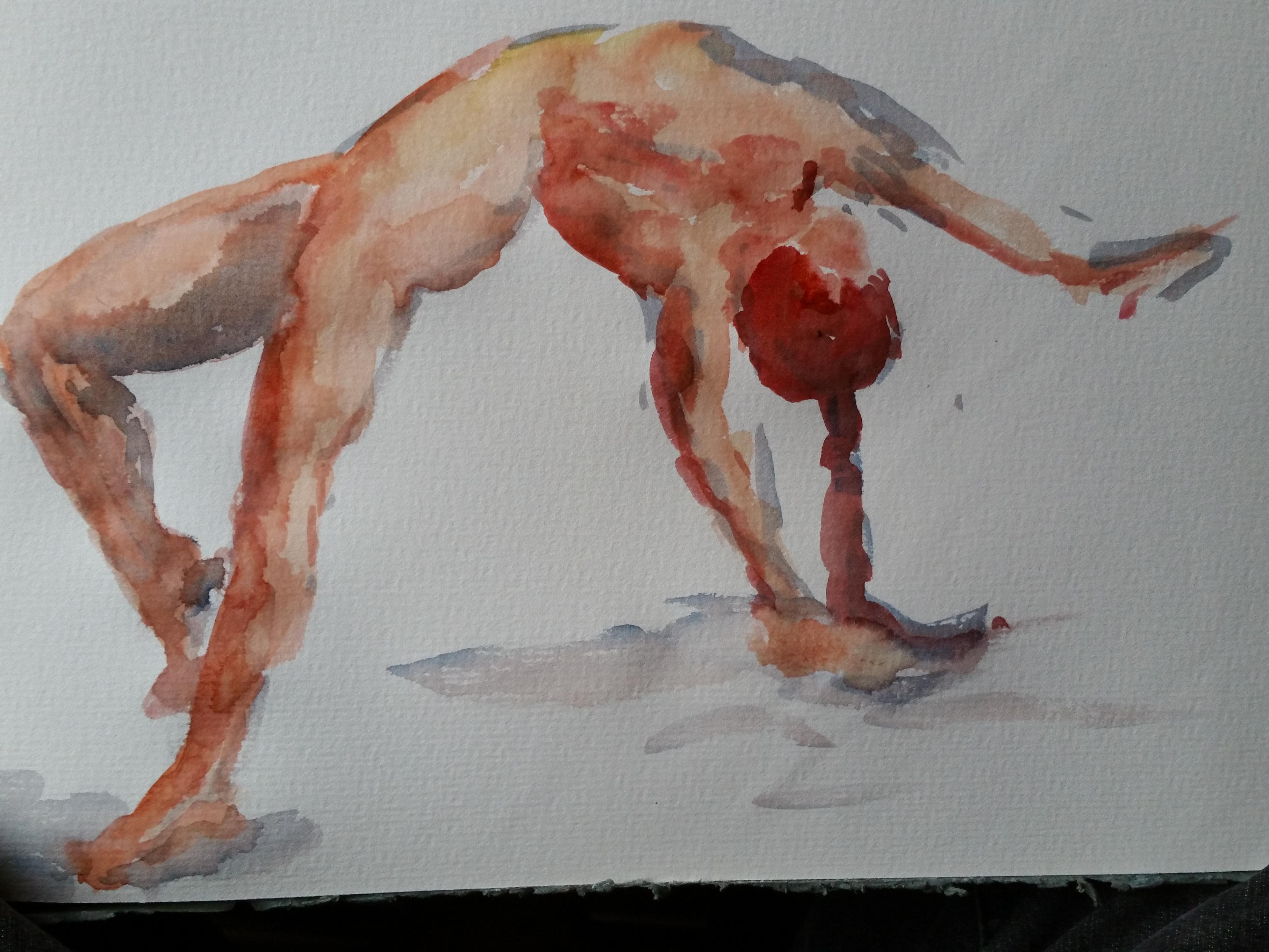 Aquarelle modèle vivant poses acrobatiques ébauche  cours de dessin