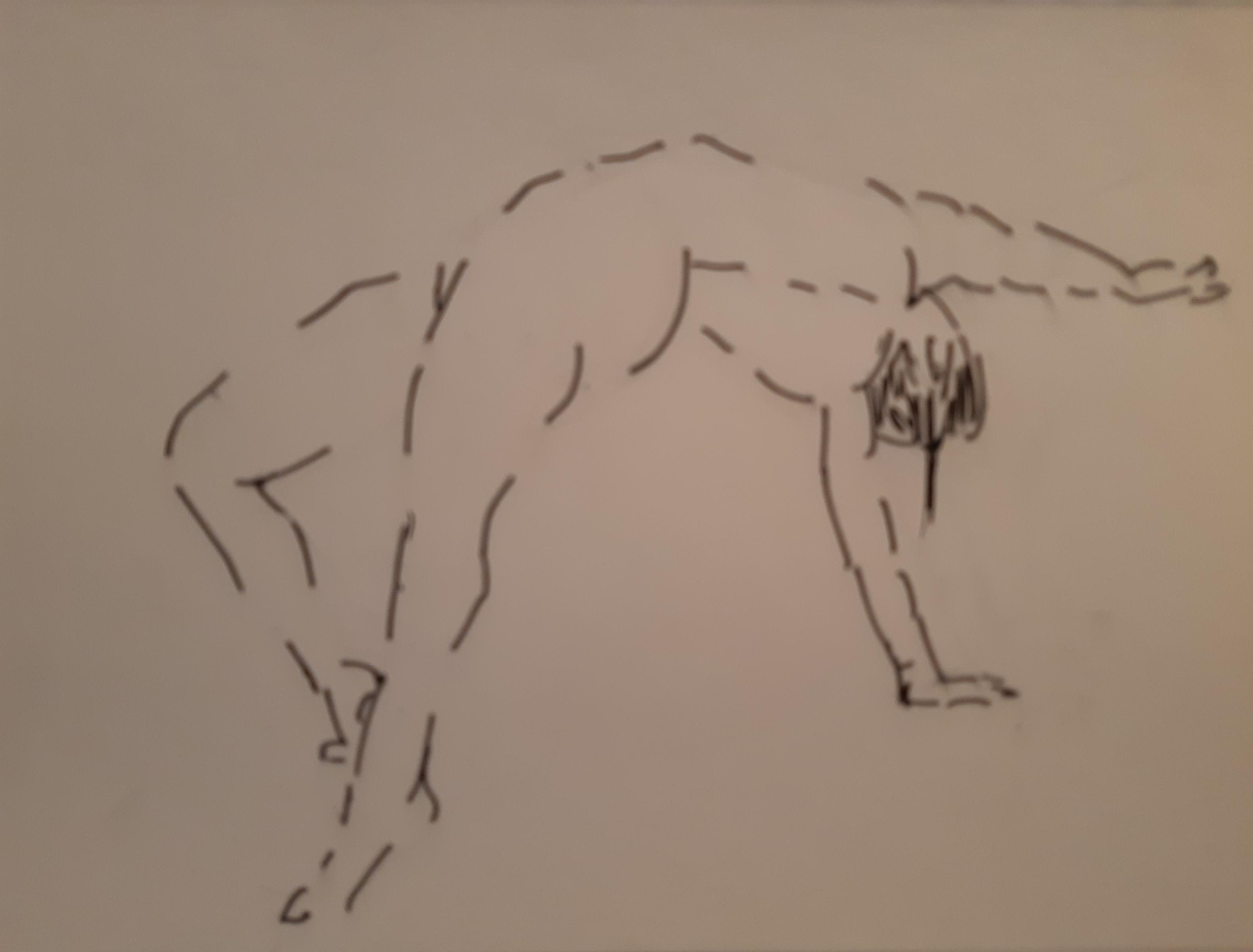 Esquisse femme pont sur papier  cours de dessin
