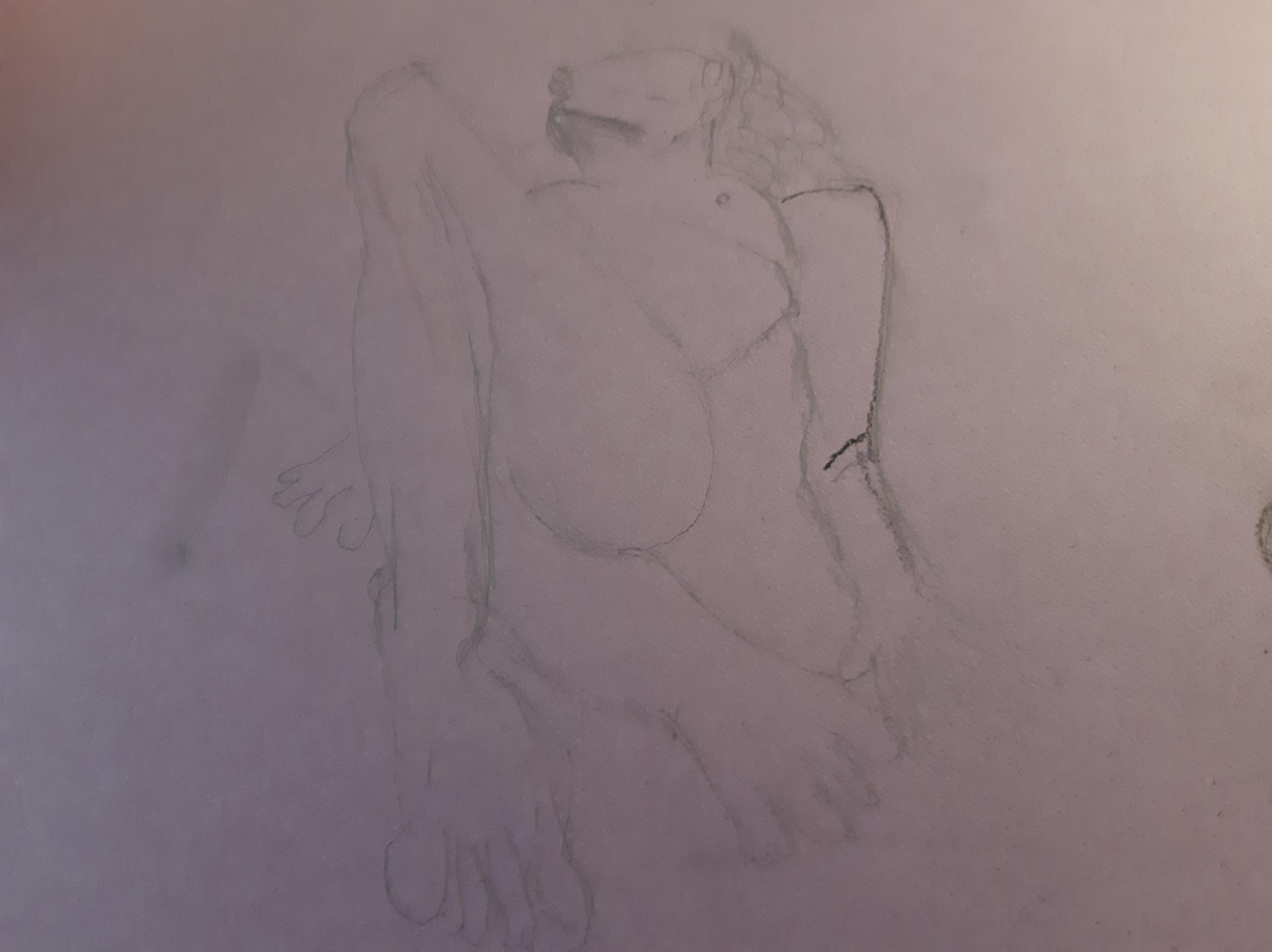 Esquisse raccourcie femme face crayon papier sur papier color�  cours de dessin