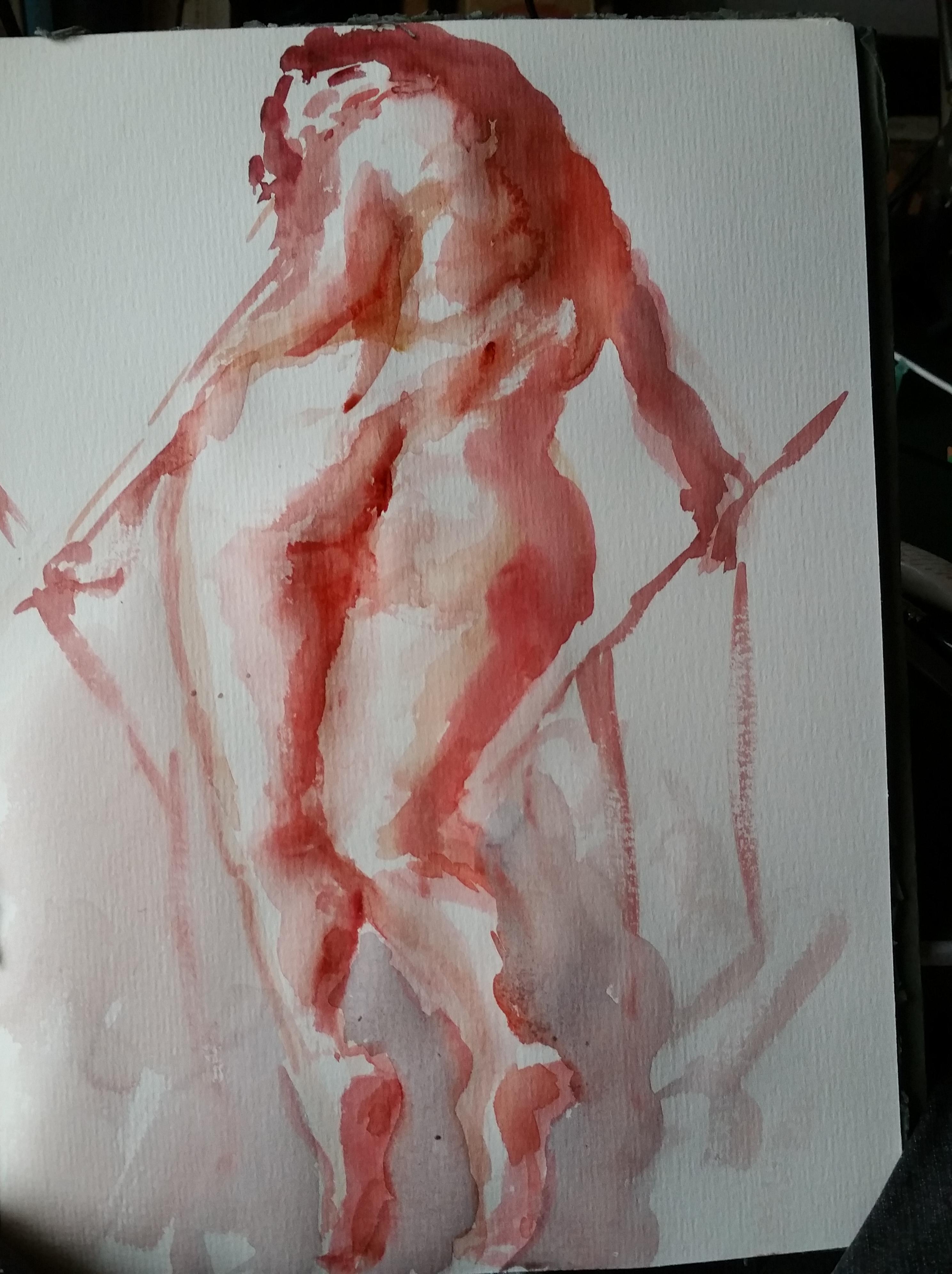Femme montant escalier dos contre-plong�es aquarelle esquissent sur papier  cours de dessin