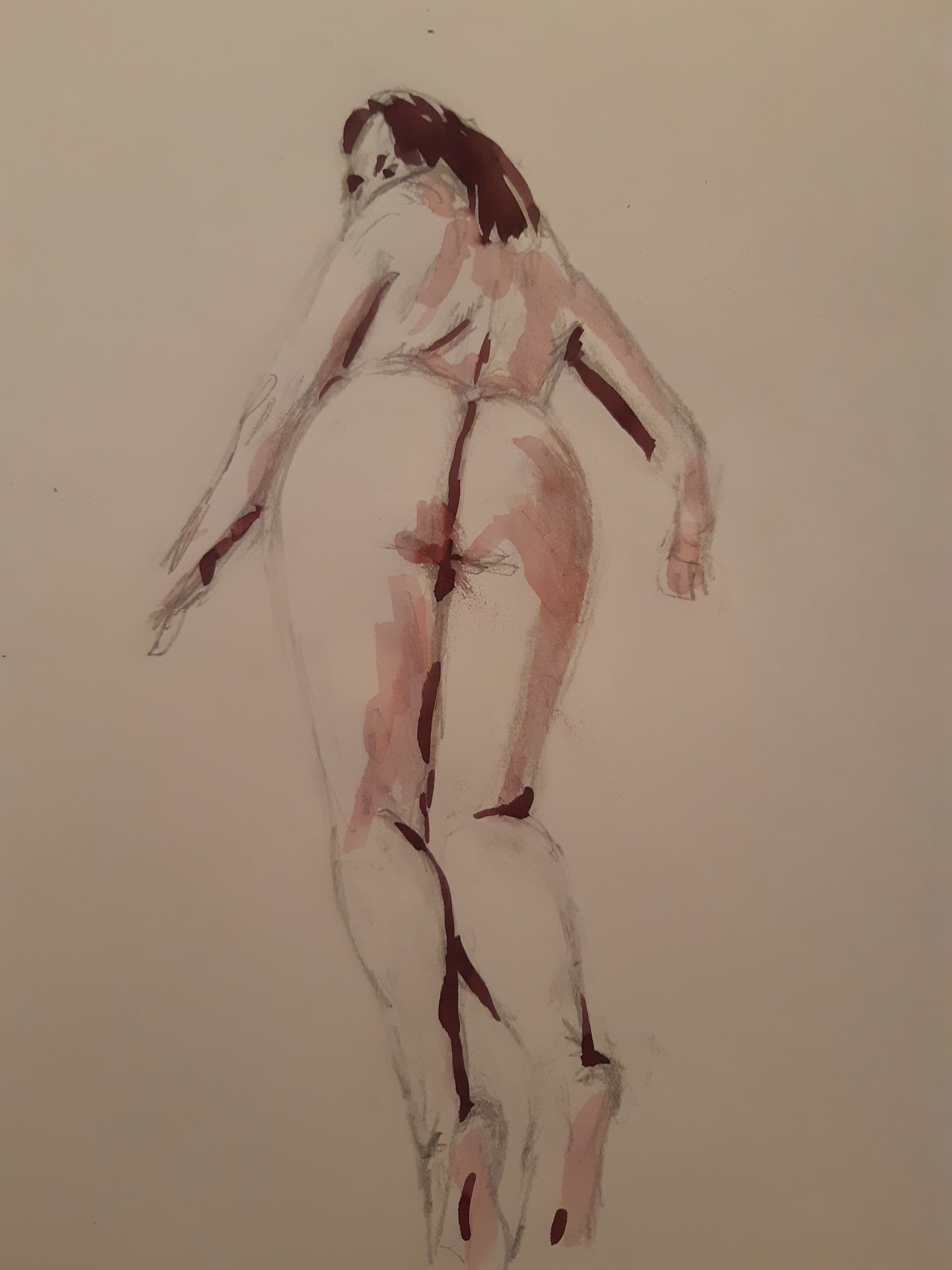 Aquarelles contre-plong�es mod�le dos femmes  cours de dessin