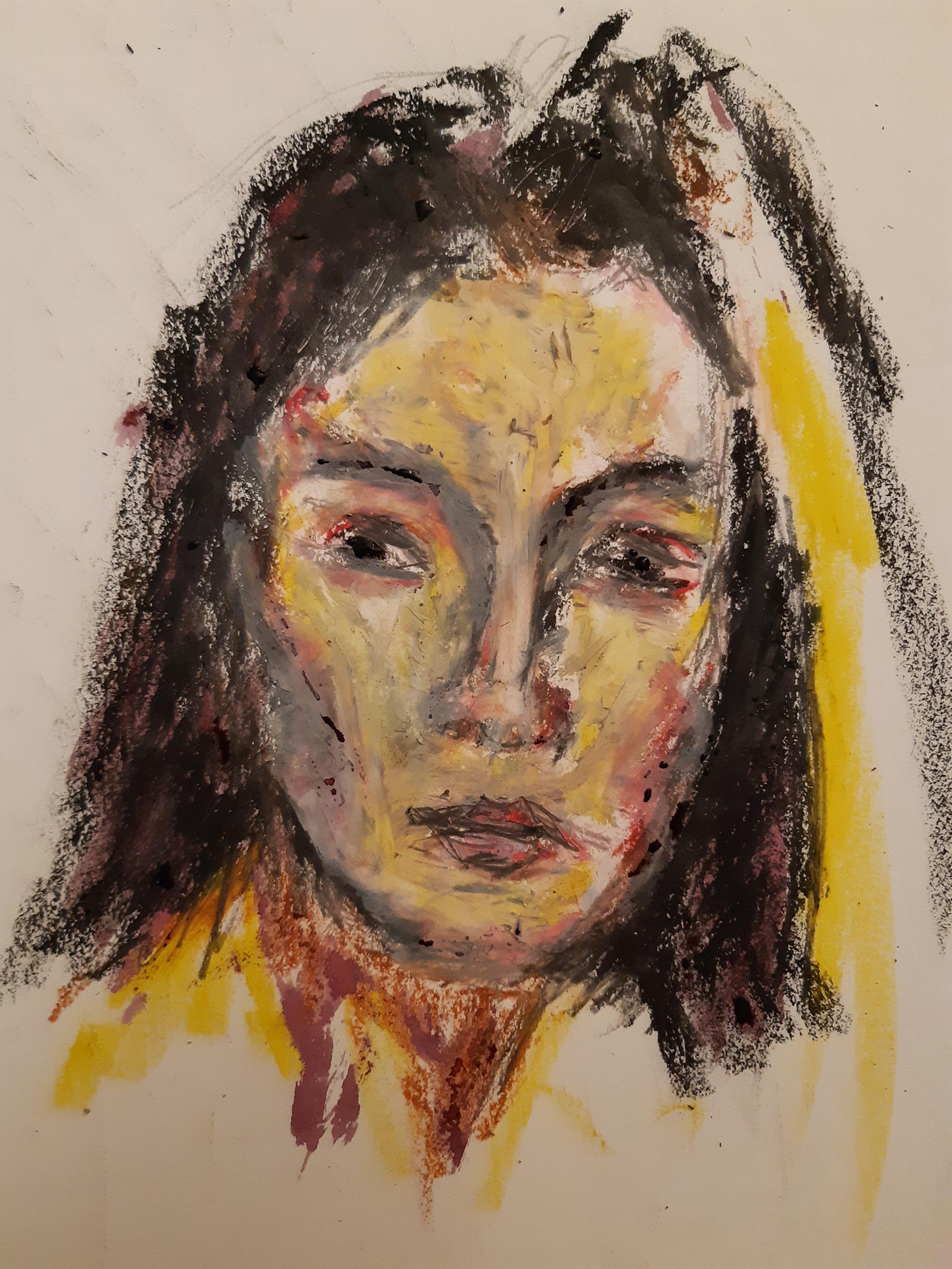 Portrait pastel gras polychrome femme  cours de dessin