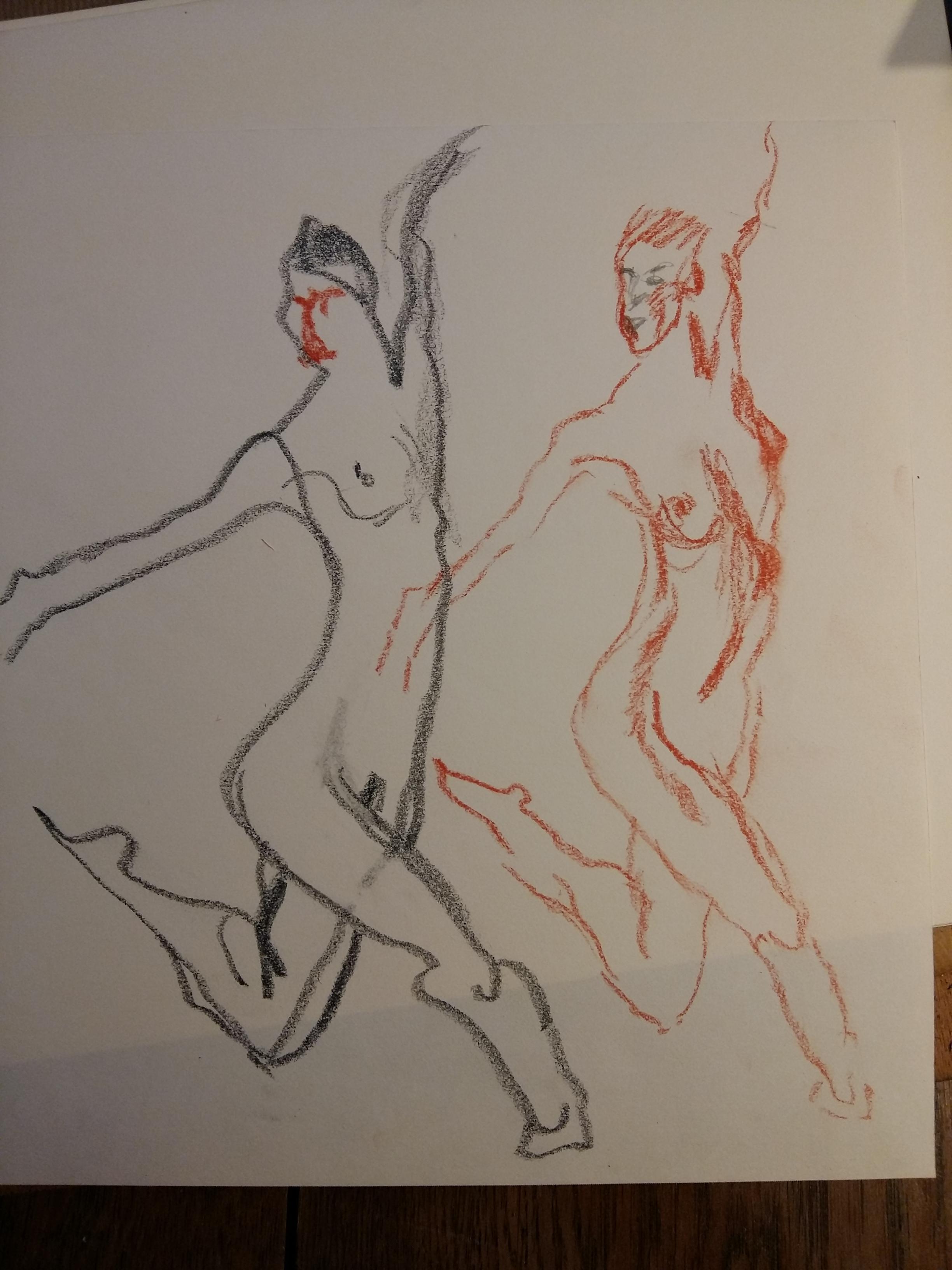 Composition dessin Claire sanguine et pastel danseuse  cours de dessin