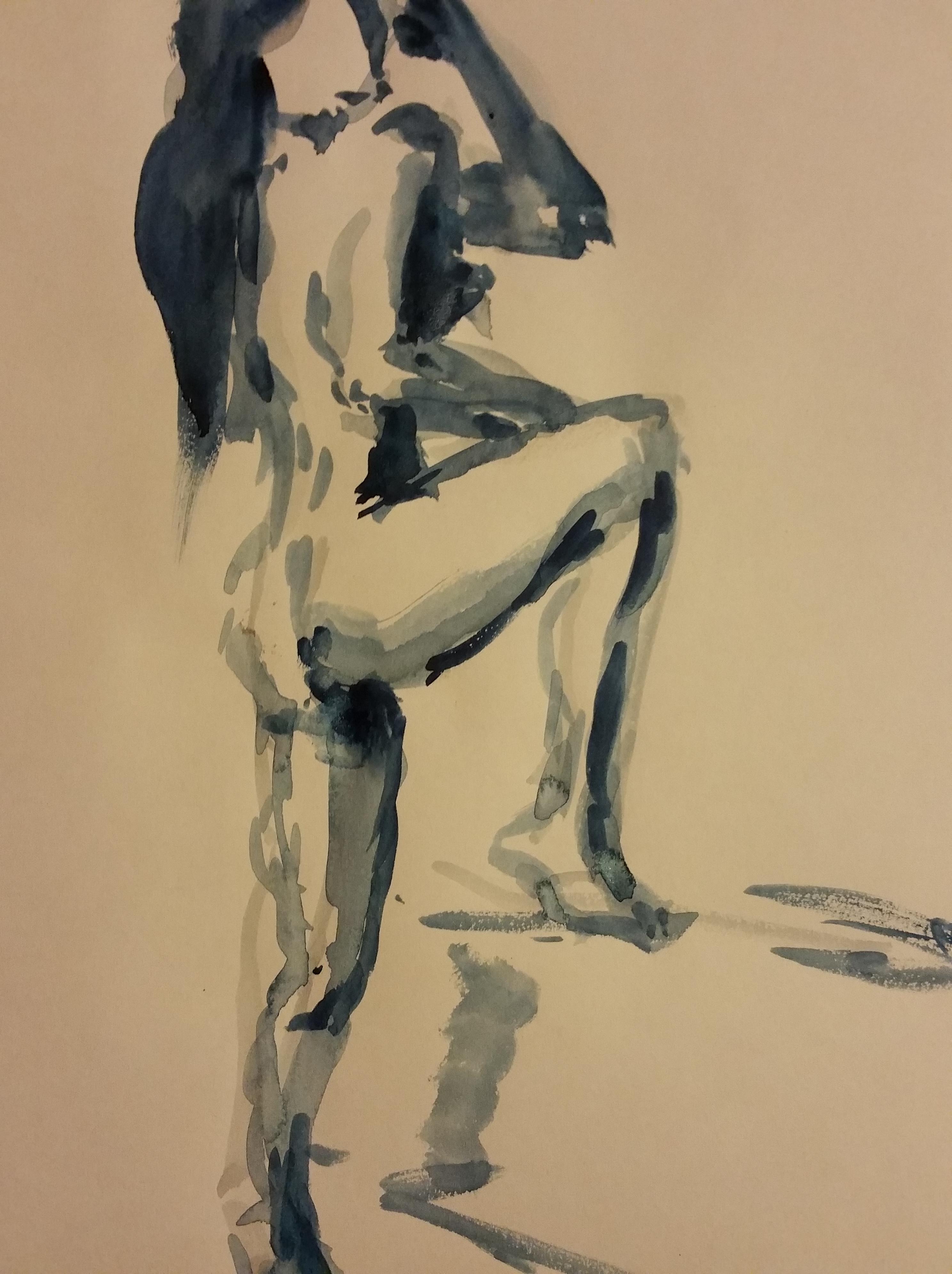 Aquarelle femme trois quarts dos debout sur papier croquis  cours de dessin