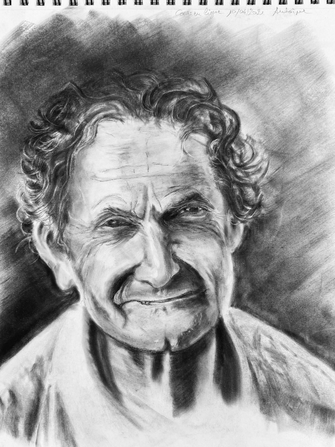 Portrait pastel en poudre noire et blanc photos r�aliste dessin  cours de dessin