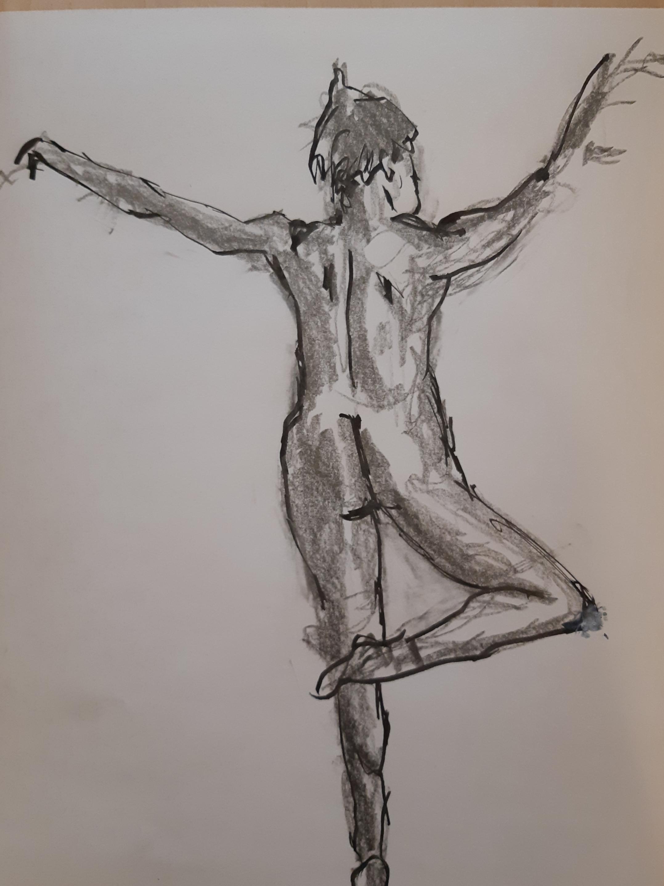 Technique mixte feutre mine de plomb danseuse dos  cours de dessin