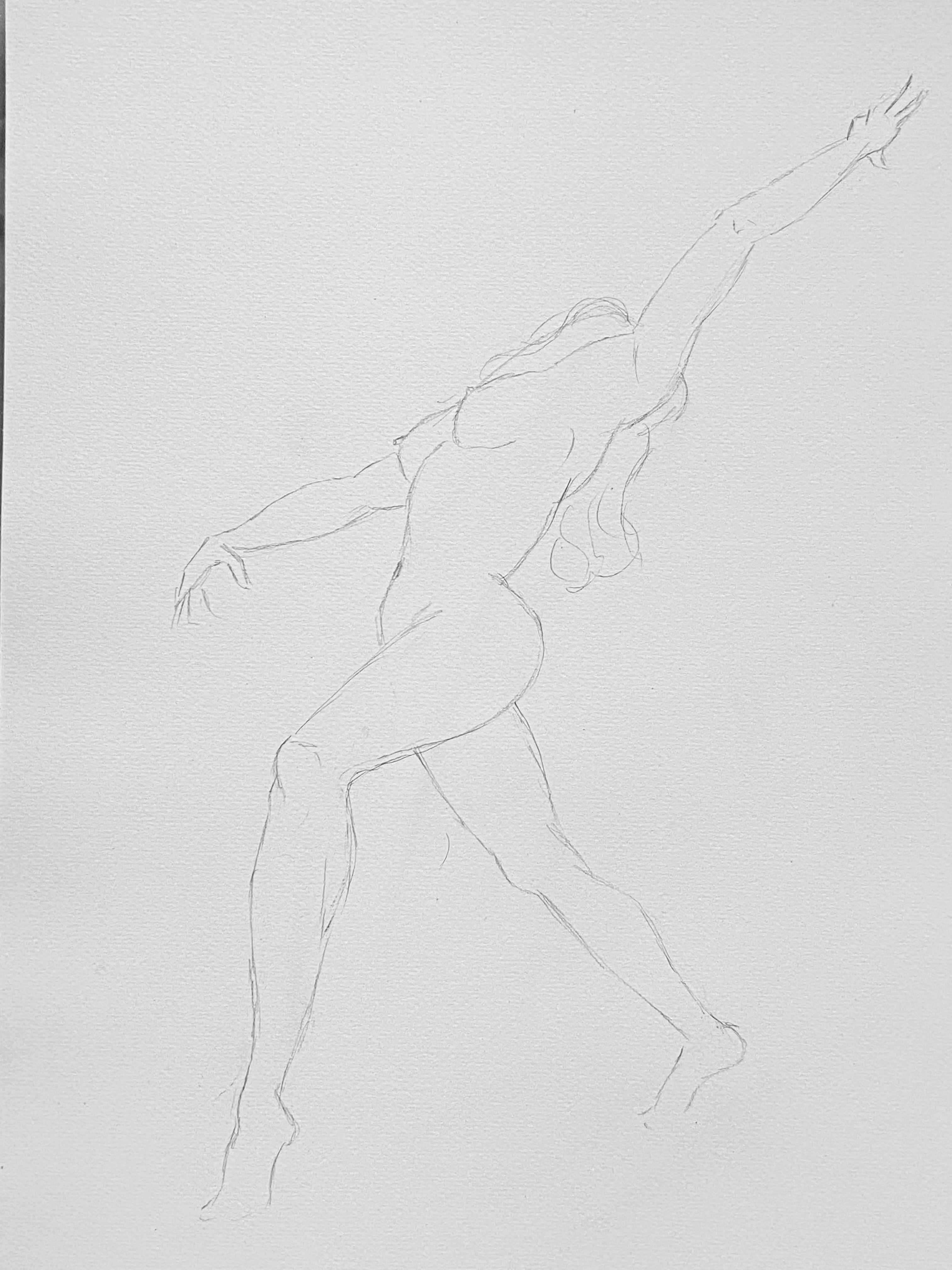 Dessin femme 3/4 danseuse extension esquisse aux trait  cours de dessin