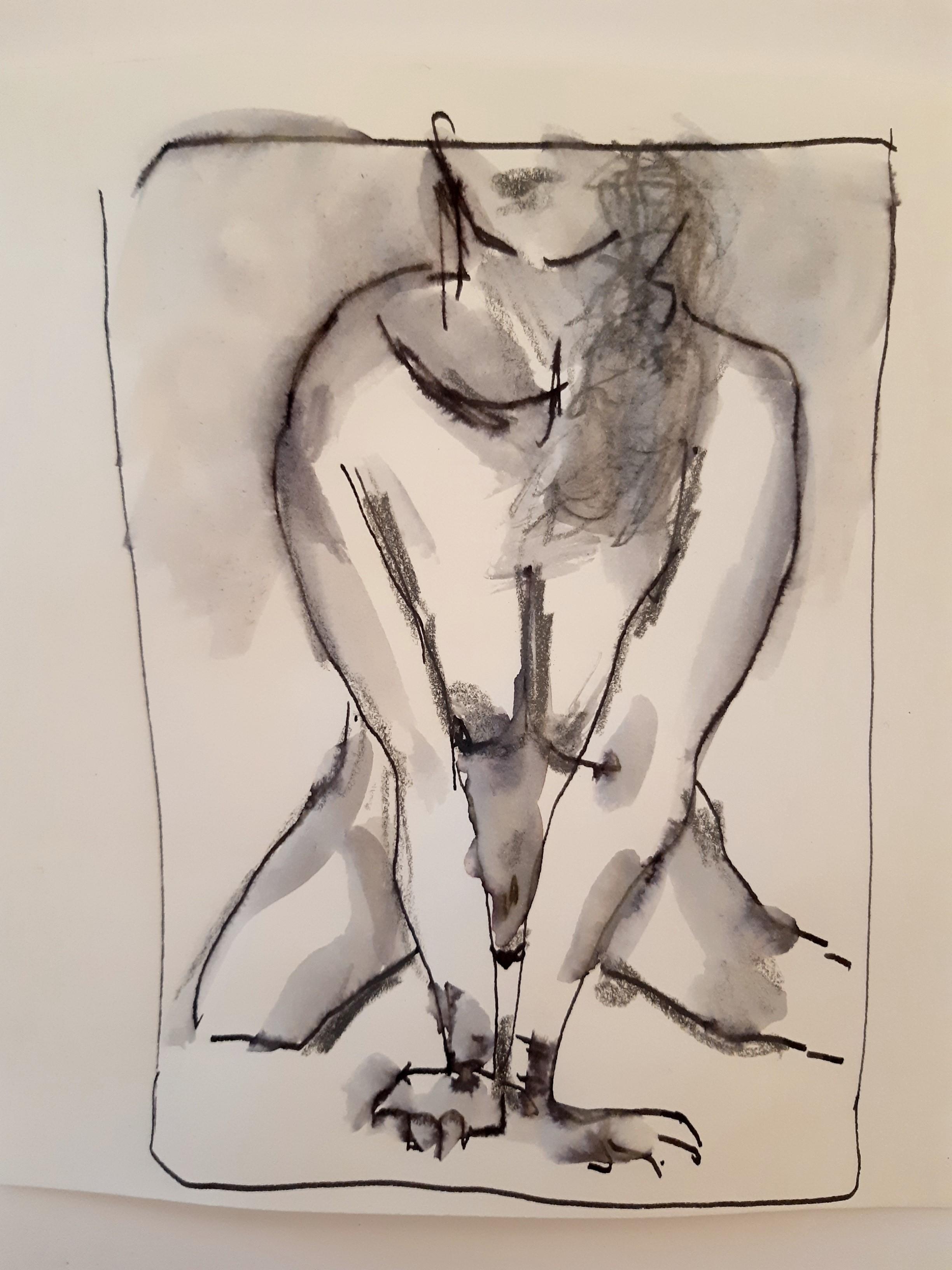 Technique mixte feutre aquarelle crayon de papier dessin femme face assise  cours de dessin