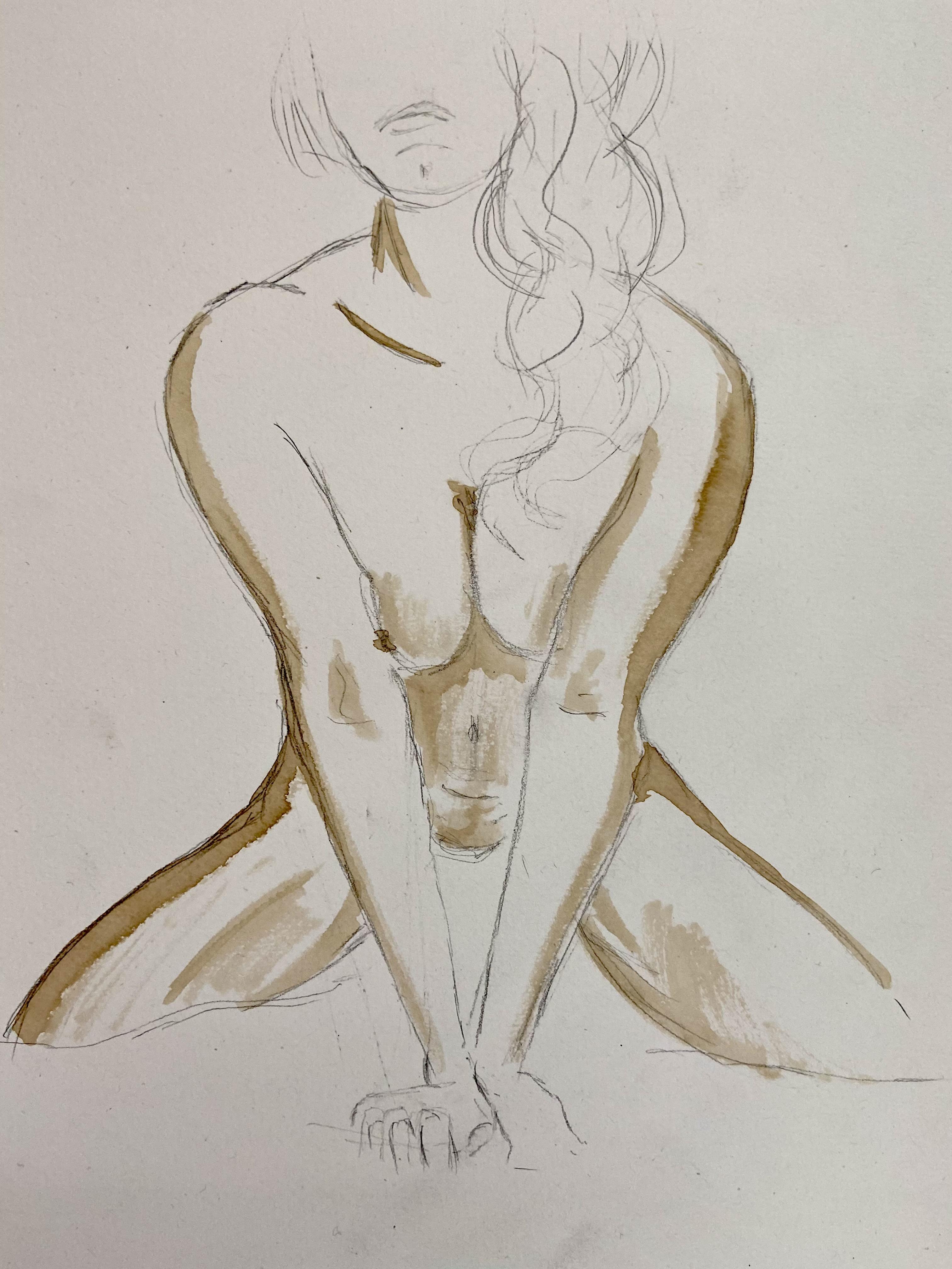 Dessin crayon de papier femme fasse assise avec brou de noix valeurs de gris  cours de dessin
