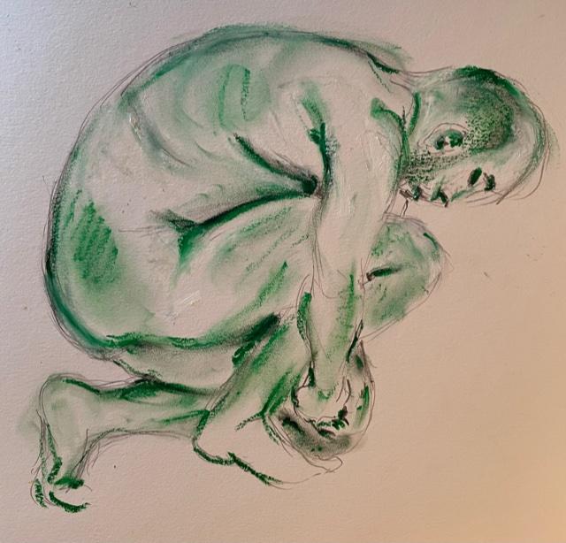 Dessin pose grouper homme profil technique mixte pastel verte et fusain  cours de dessin
